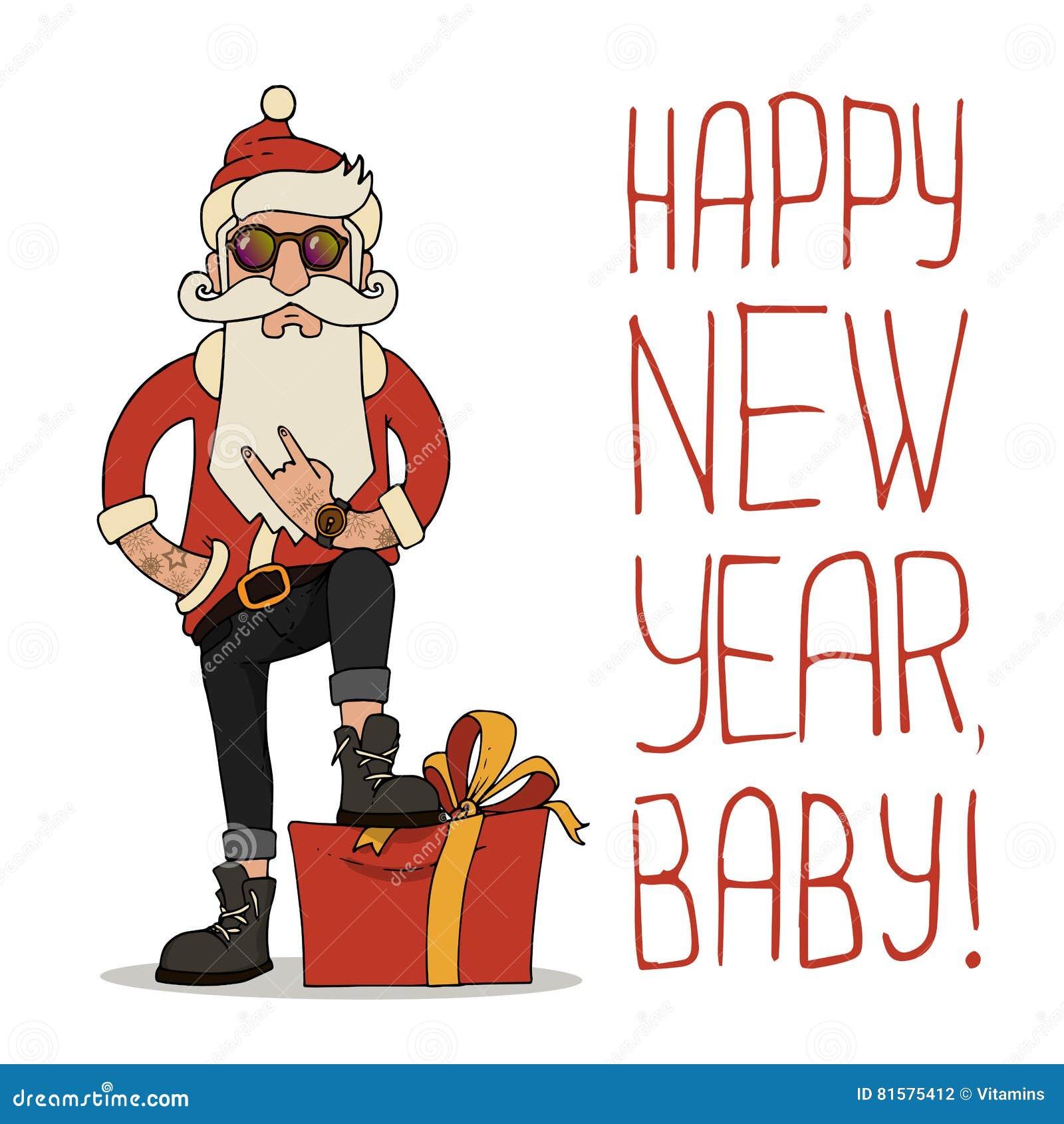 4b01250b1ed Hipster Santa Claus With Stylish Beard And Sunglasses. Stock Vector ...