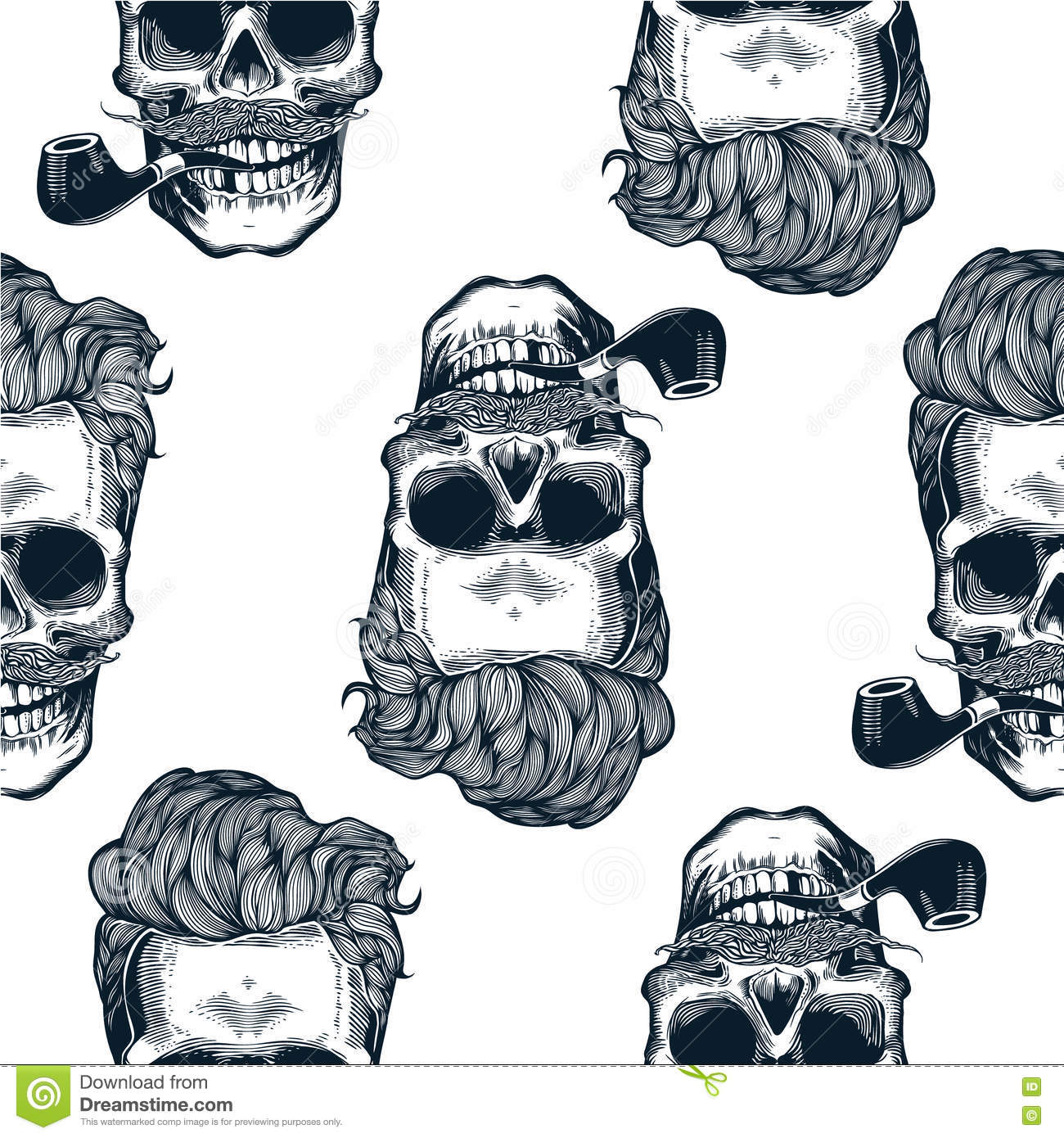 Hipster Seamless Pattern With Skulls Silhouettes Skull