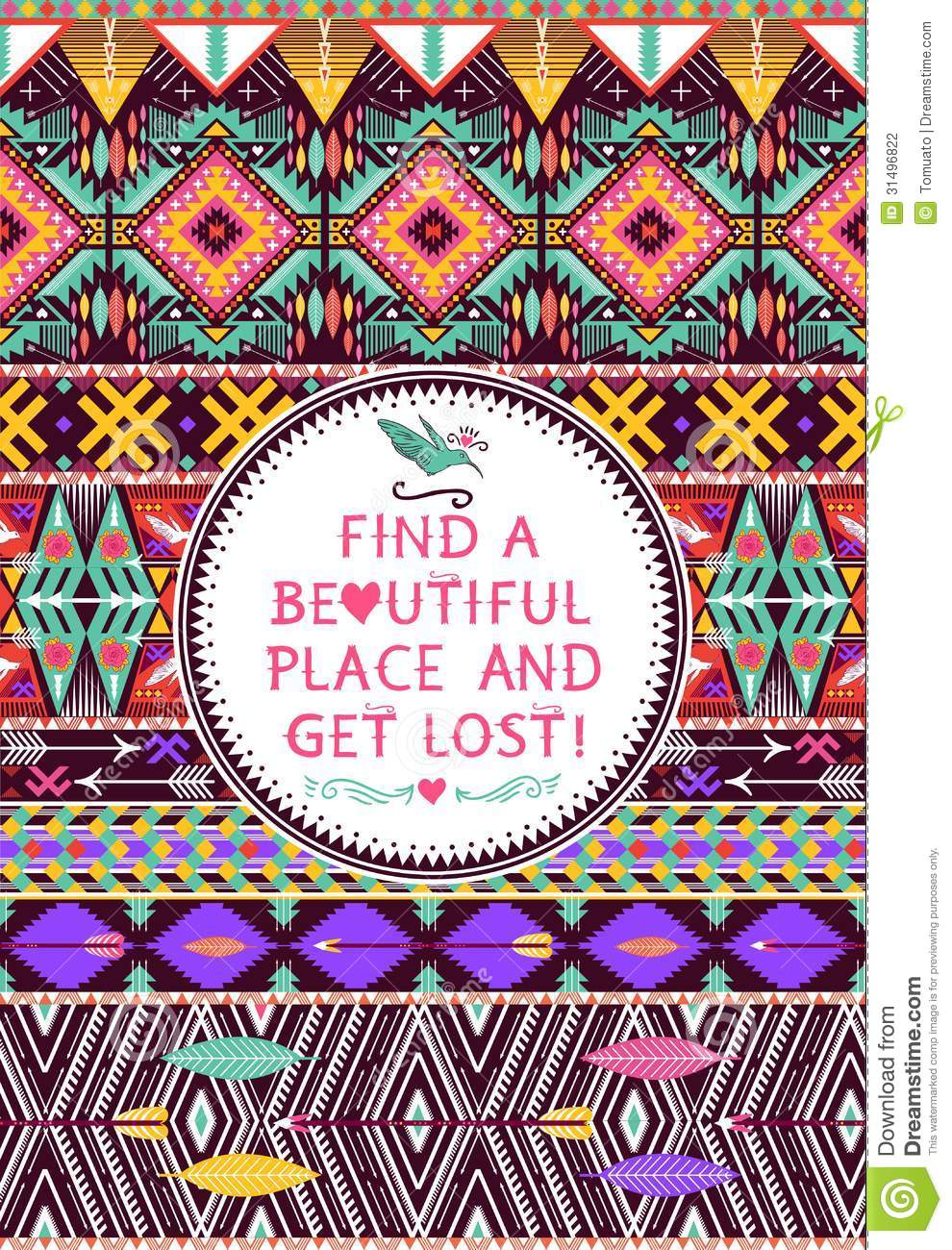 Hipster Seamless Tribal Pattern With Geometric Elements ...