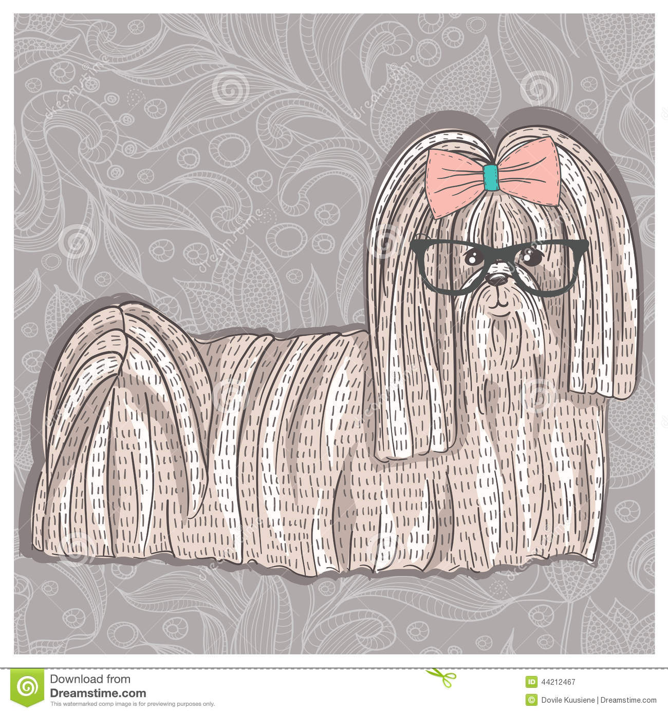 Hipster Shih Tzu With Glasses And Bowtie Cute Puppy Illustratio