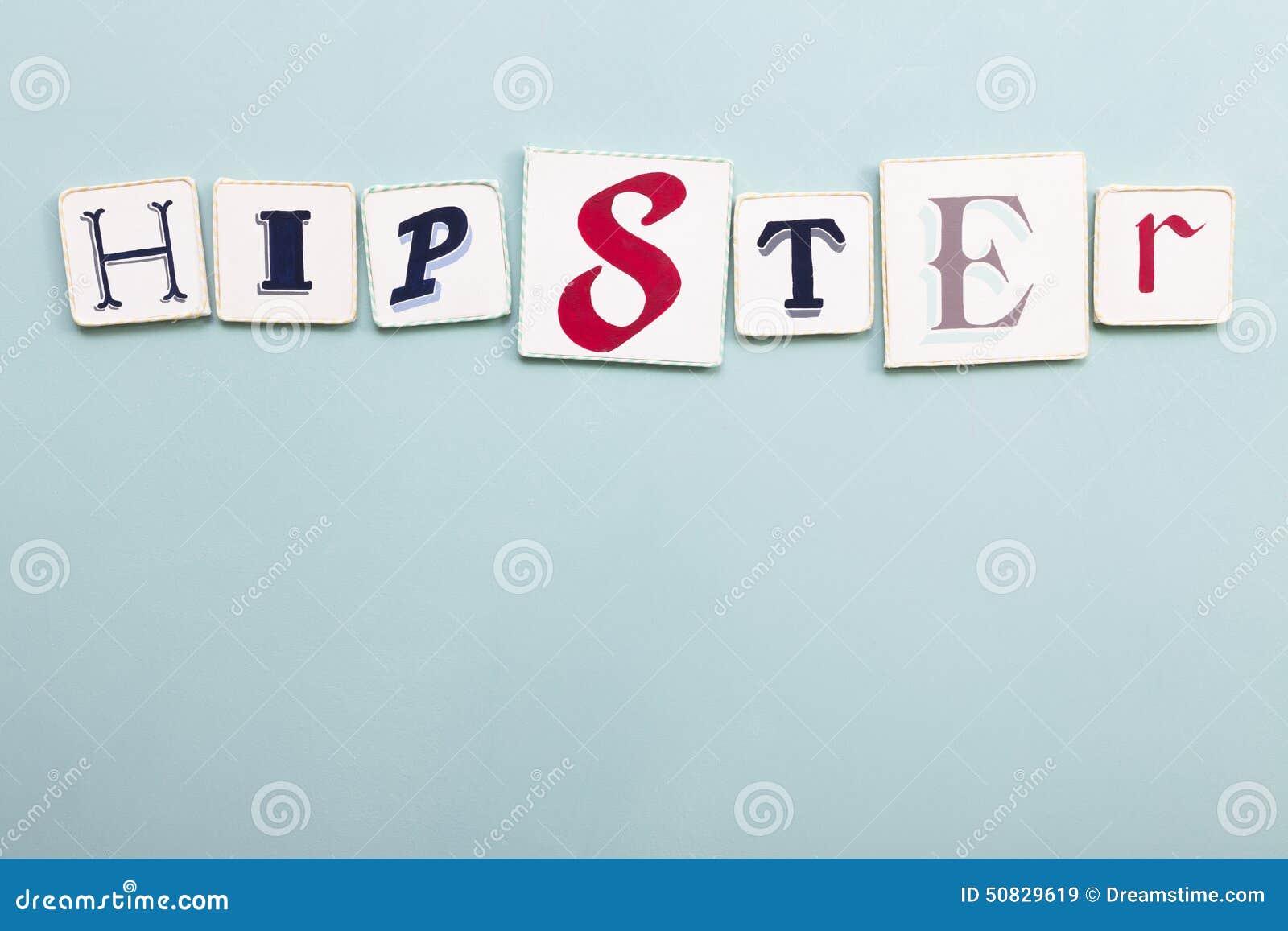 Hipster signboard. Handwritten colors letters word. Light blue backgr