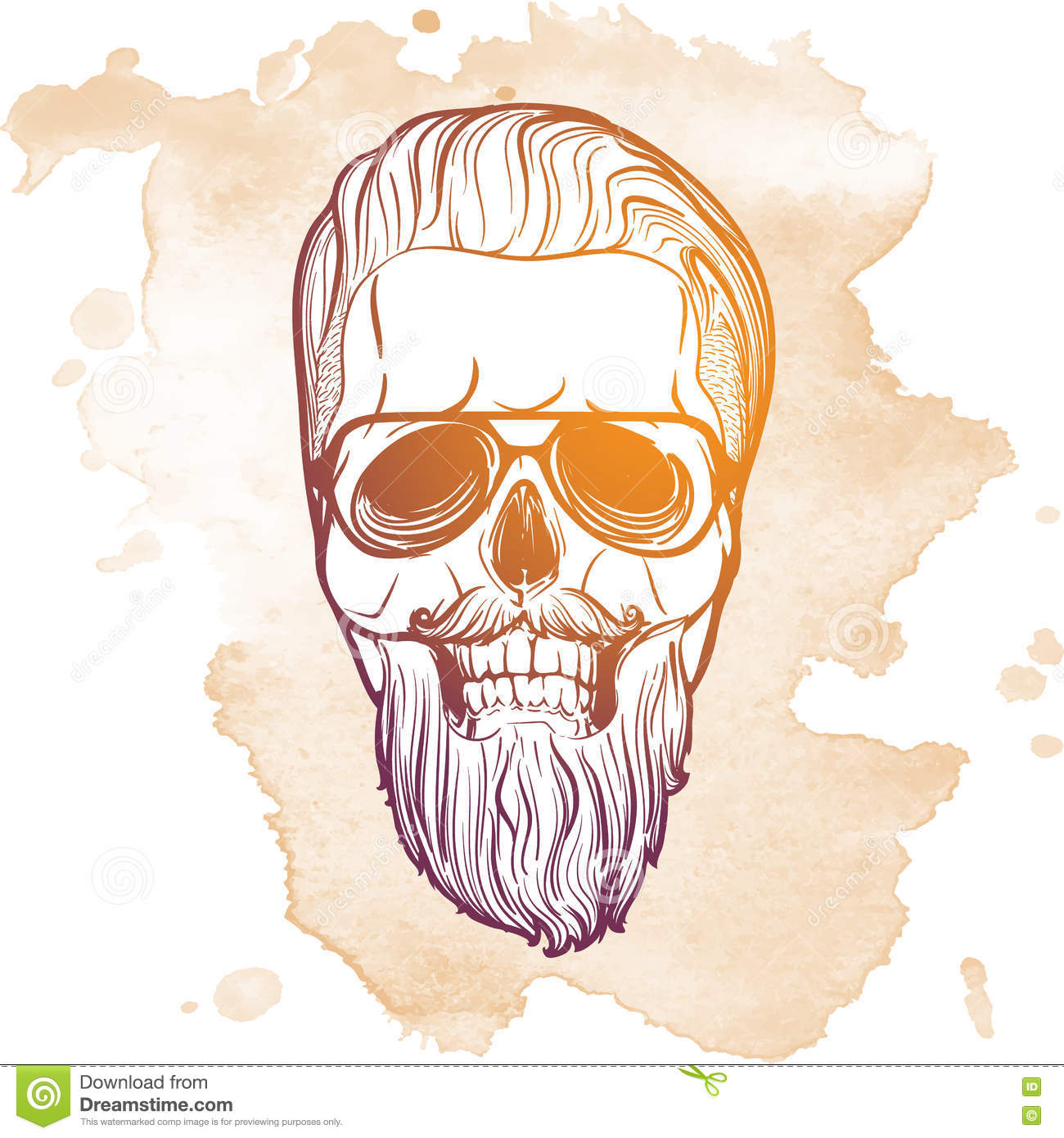 Hipster Skull In Beard And Mustache Stock Photo - Image of anatomy ...