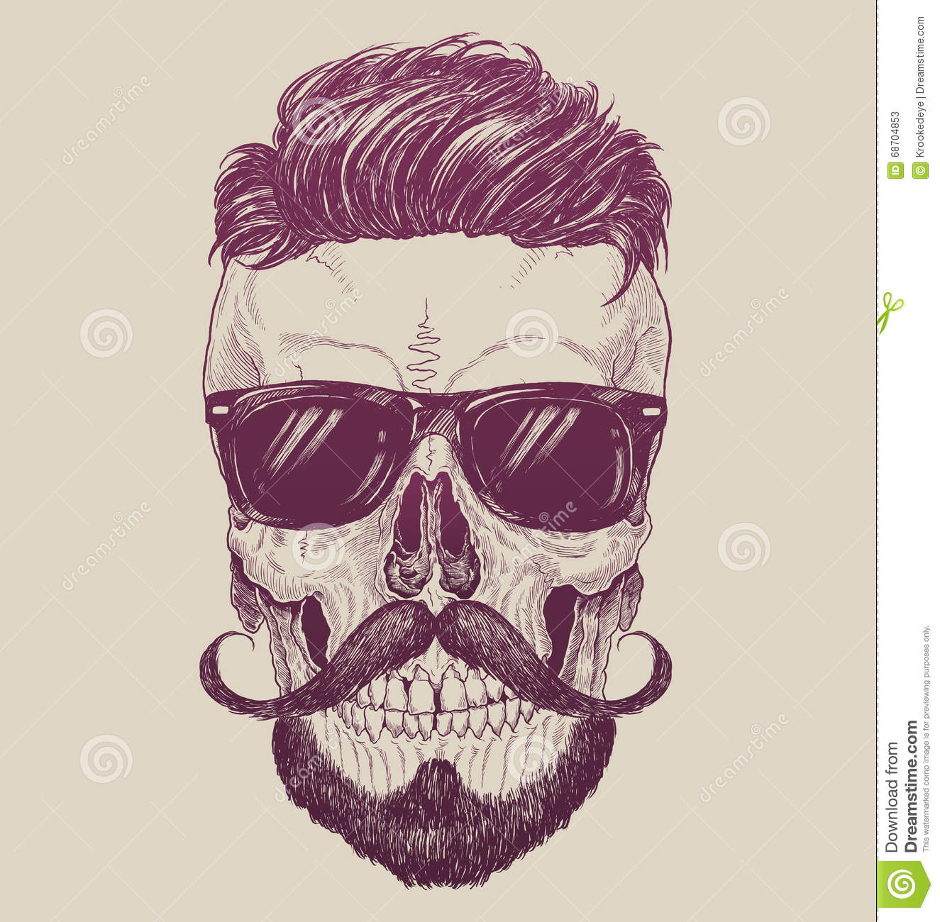 Hipster Skull With Sunglasses, Hipster Hair And Mustache ...