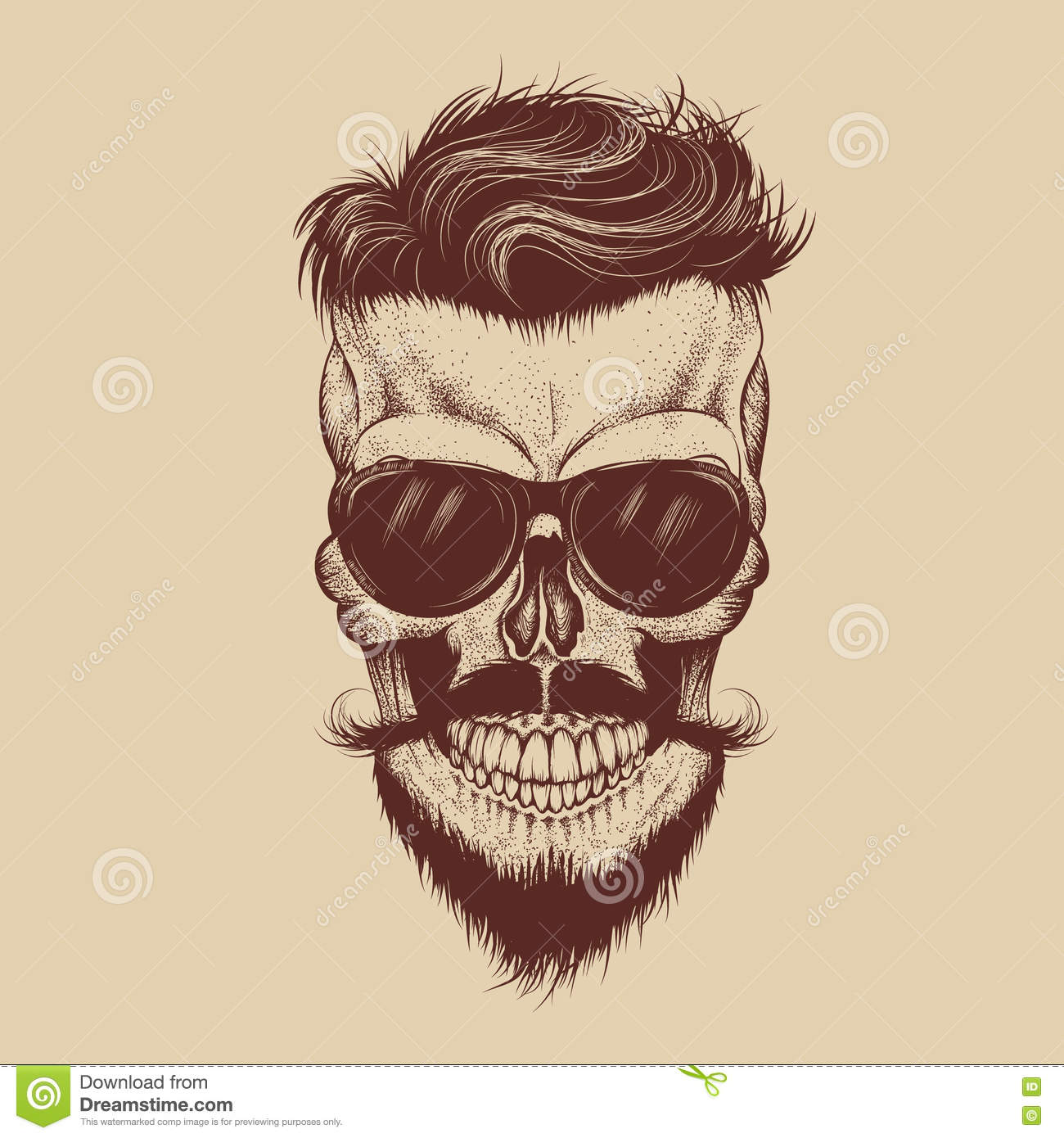 Hipster Skull With Sunglasses Mustache And Beard Vector Illustration
