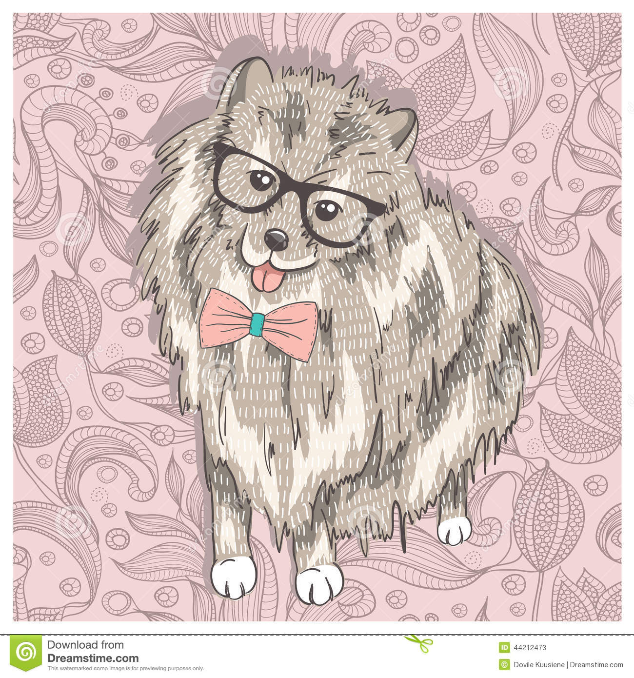 Hipster Spitz With Glasses And Bowtie Cute Puppy