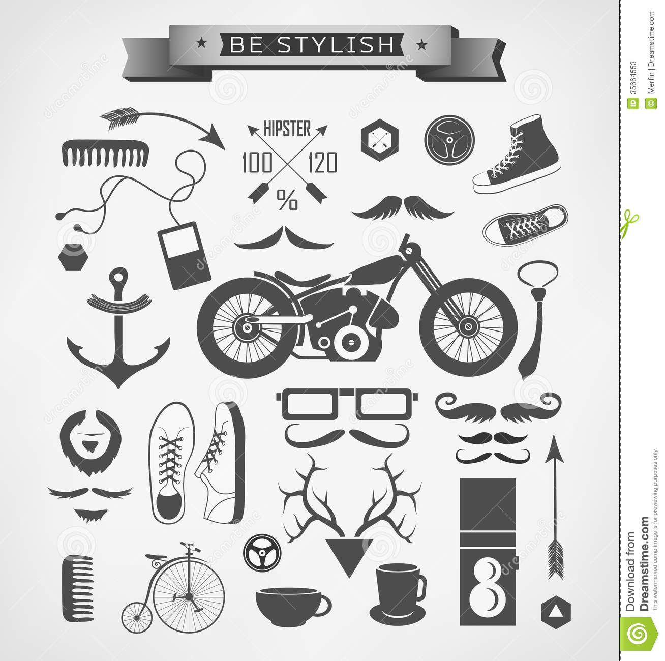 hipster style elements icon and object can be stock photos image 35664553. Black Bedroom Furniture Sets. Home Design Ideas