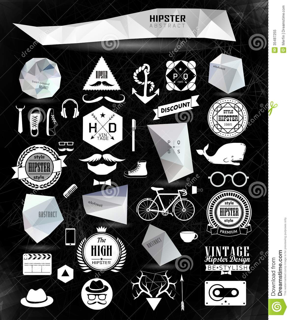 Hipster Style Elements And Icons Royalty Free Stock Photo ...