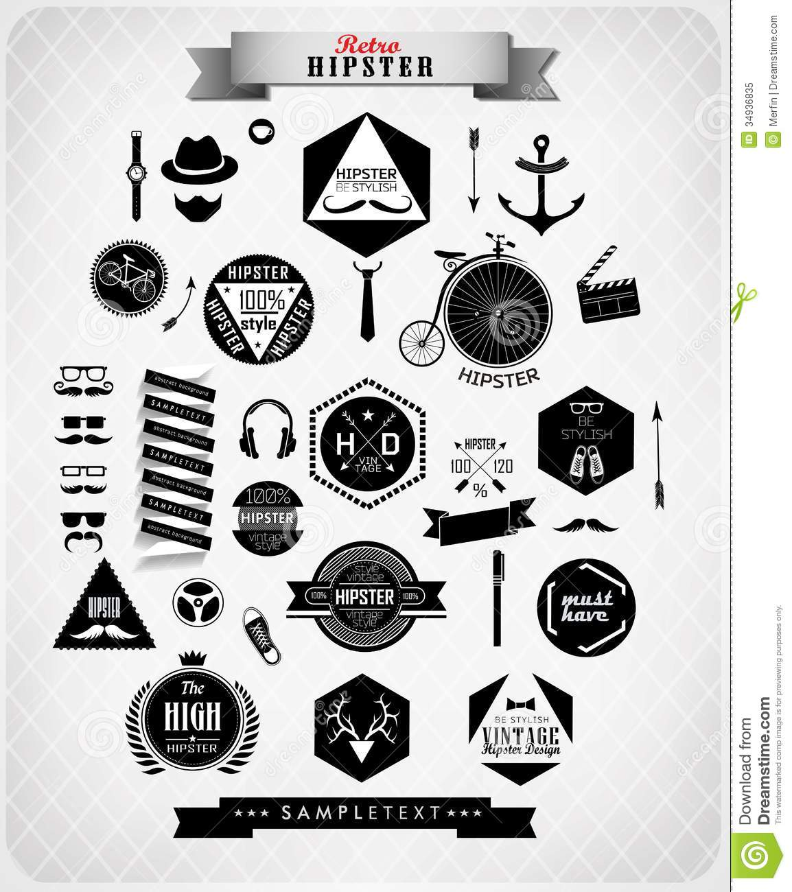 Hipster Style Elements And Icons Royalty Free Stock Photo Image 34936835