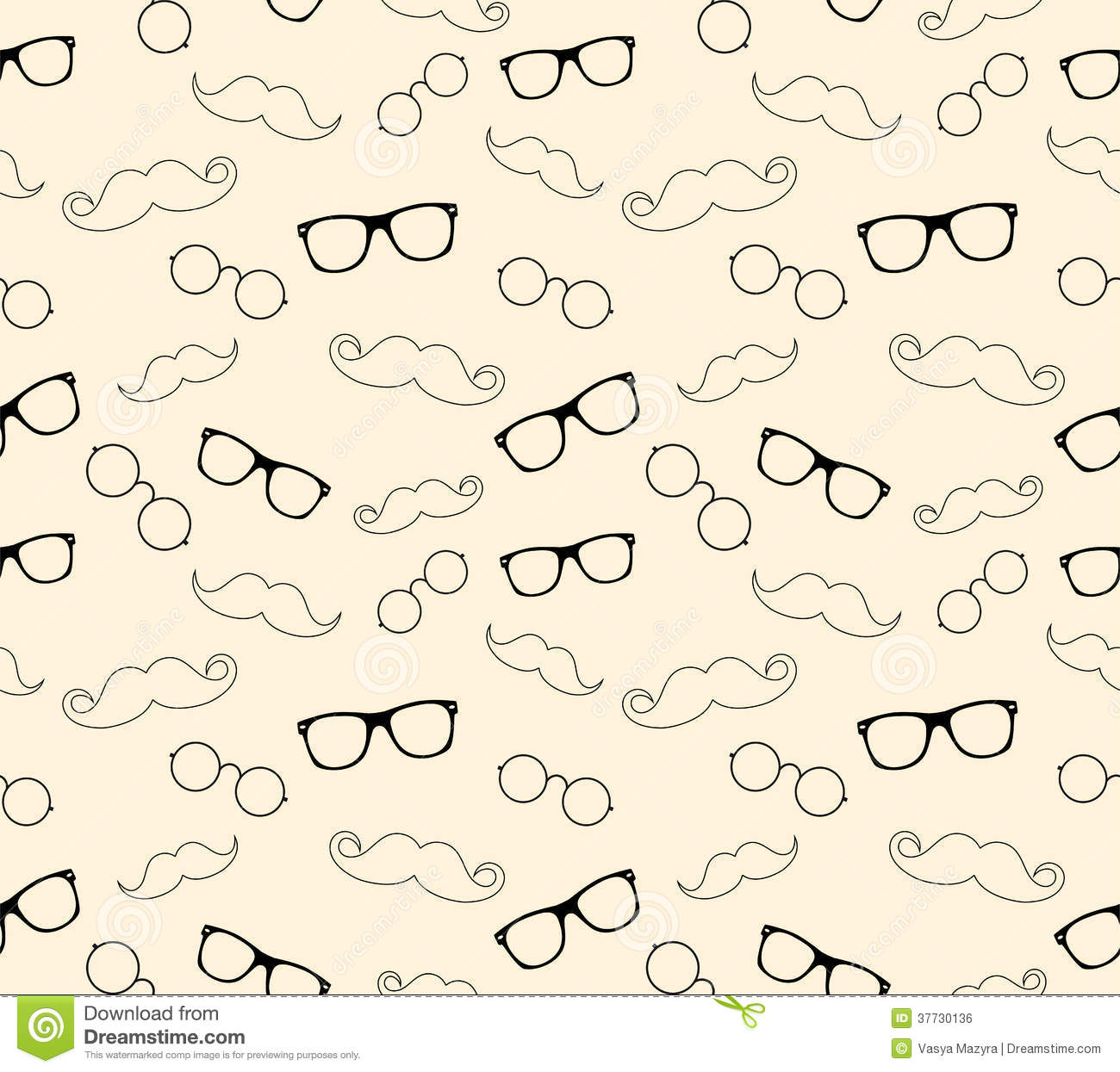 Hipster Style Pattern Glasses And Mustaches Vect Illustration