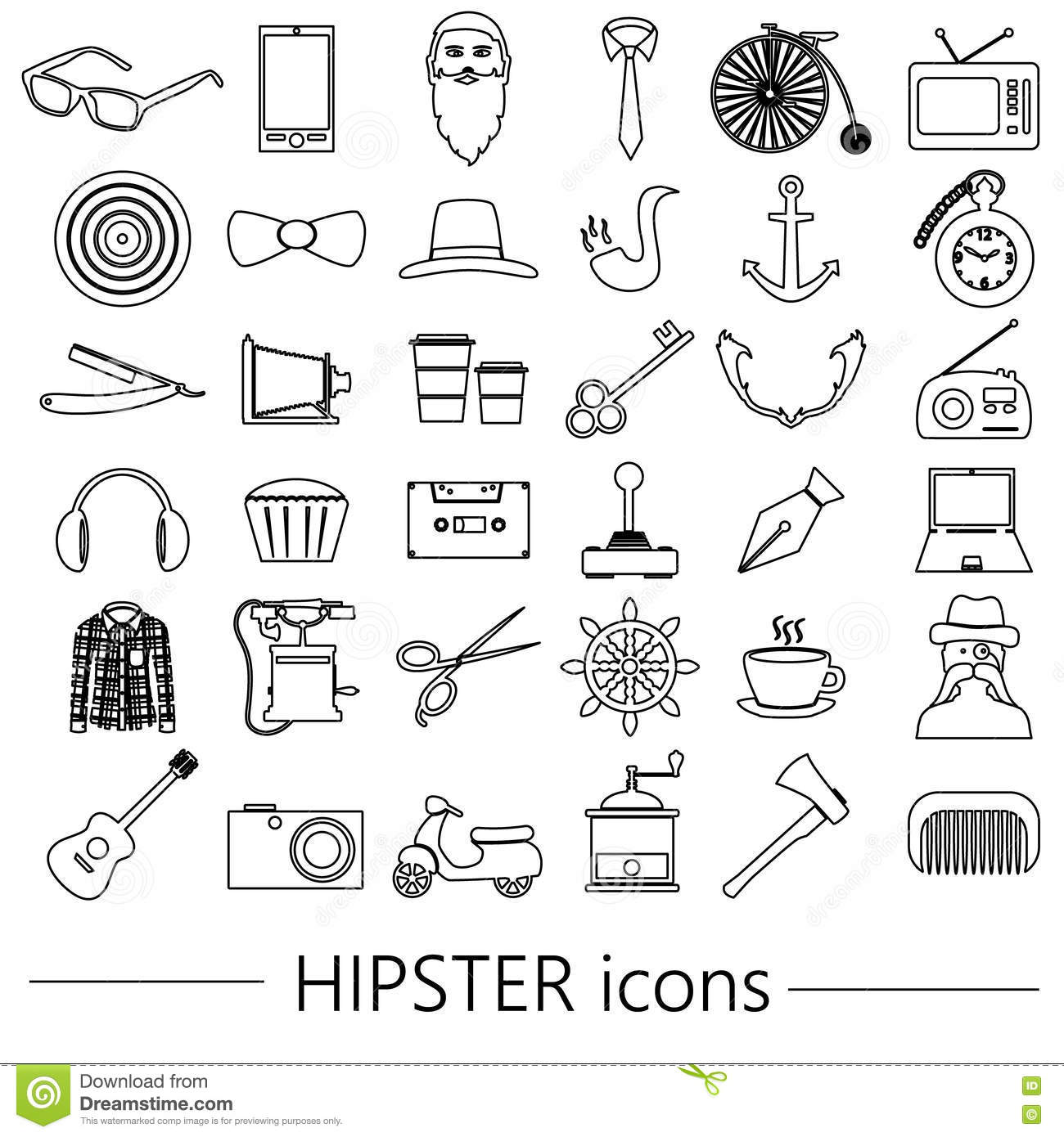 hipster theme and culture set of outline vector icons eps10 stock