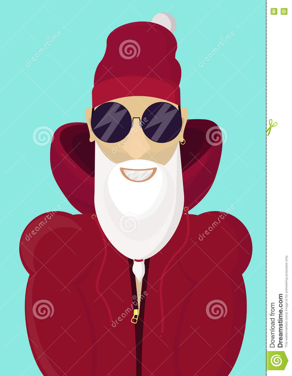fc0f1c52211 Hipster Trendy Santa Claus With Stylish Beard And Hip Sunglasses ...