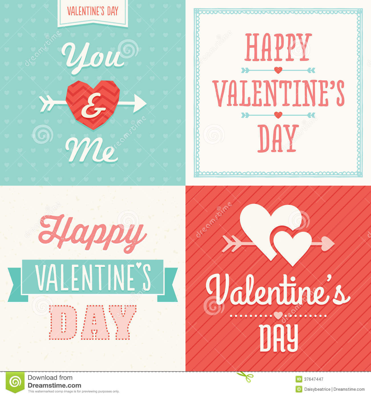 Royalty Free Stock Photography: Hipster typographic Valentine cards in ...