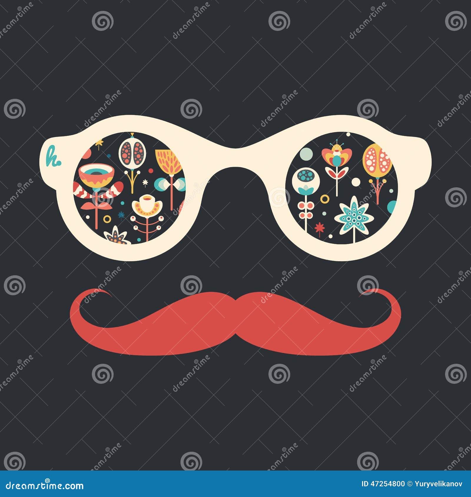 Hipster uitstekende zonnebril met kleurrijke Kerstmisbloemen op donkere achtergrond