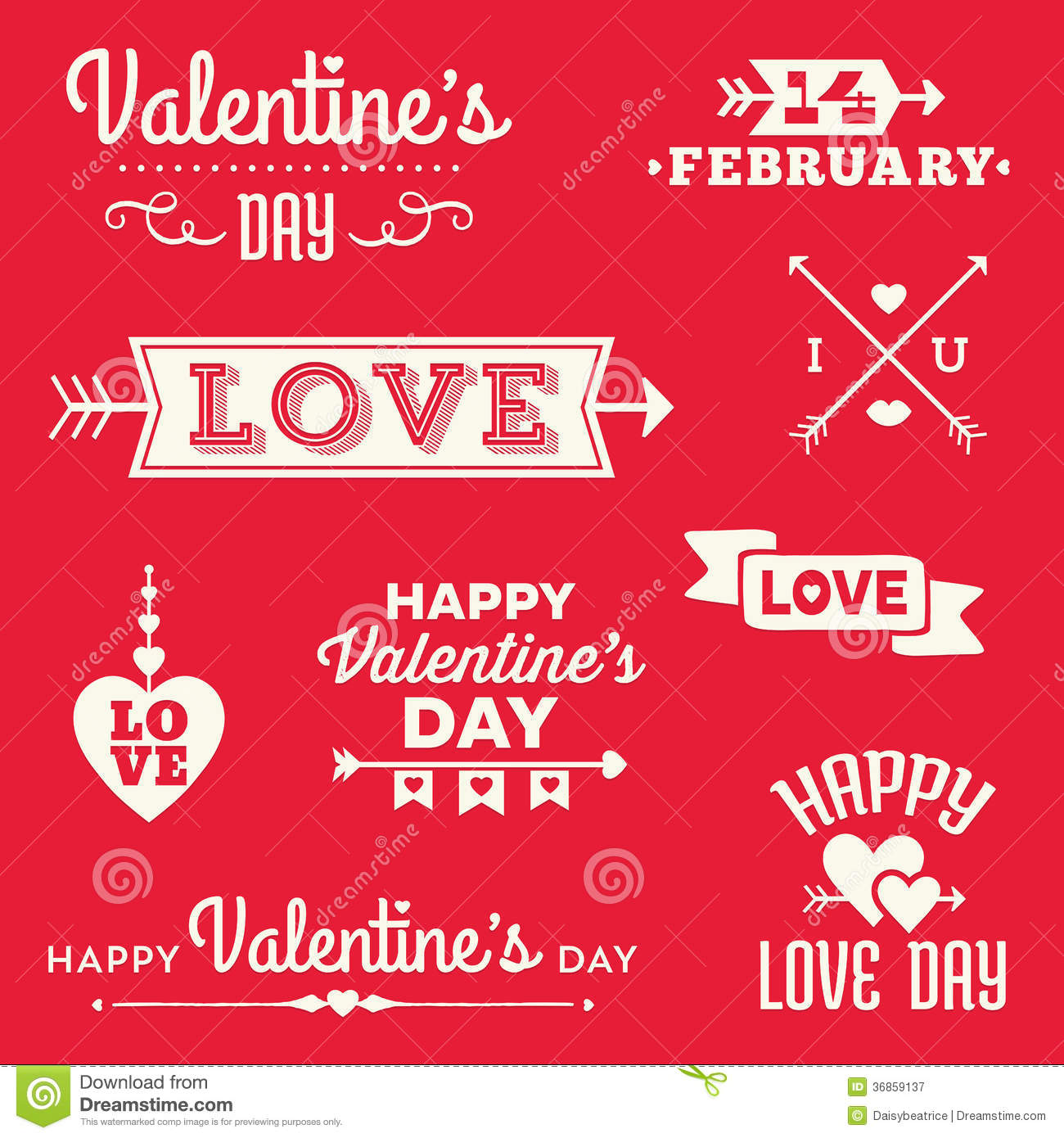 Hipster Valentines Day Typographic Banners And Messages Stock Vector