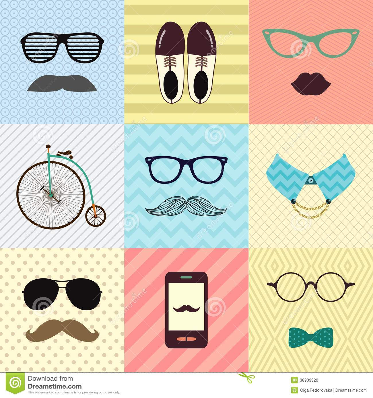 Hipster Vintage Cute Fashion Background Stock Vector