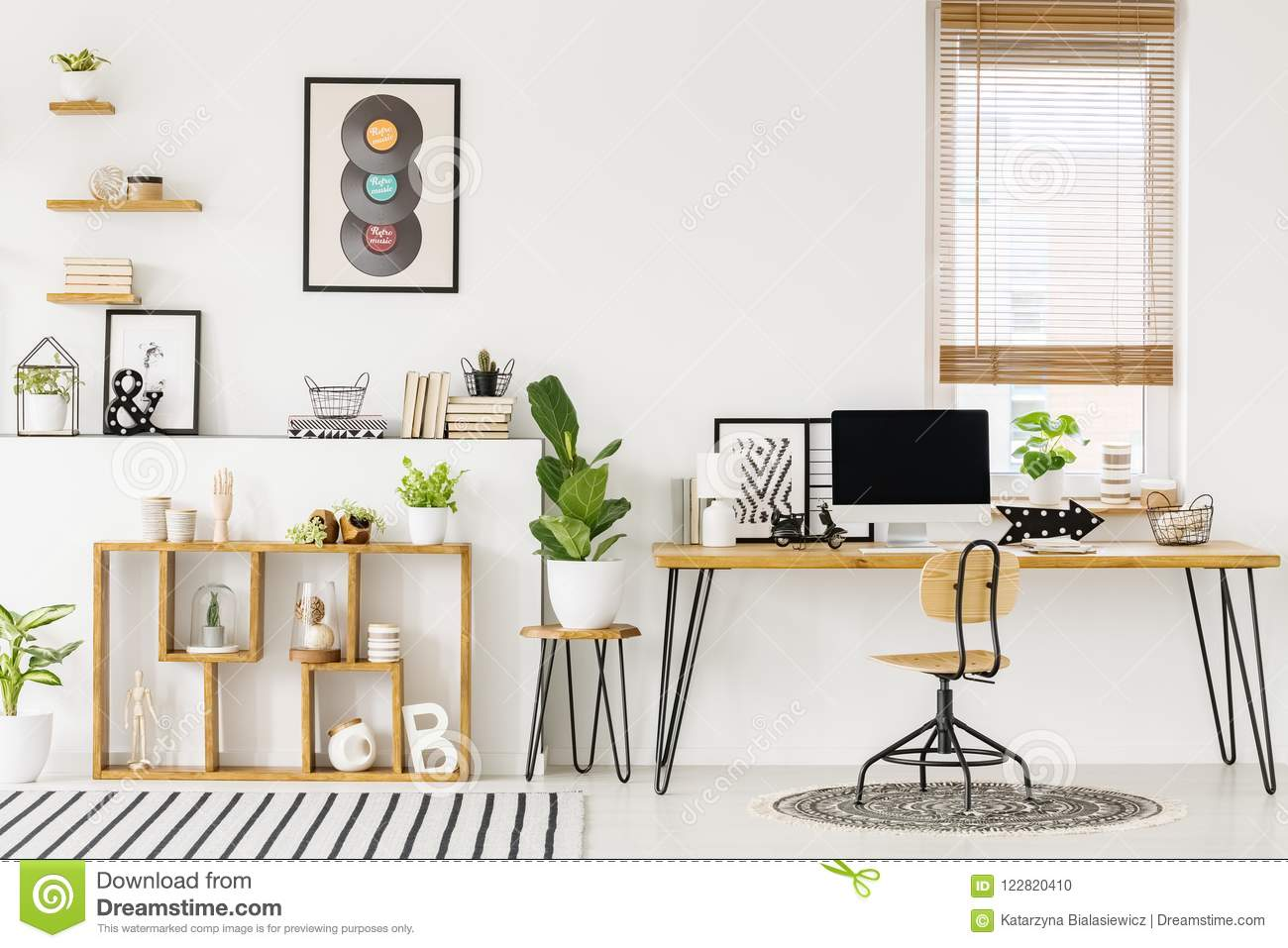 Hipster White Home Office Interior With Natural Wooden Furniture