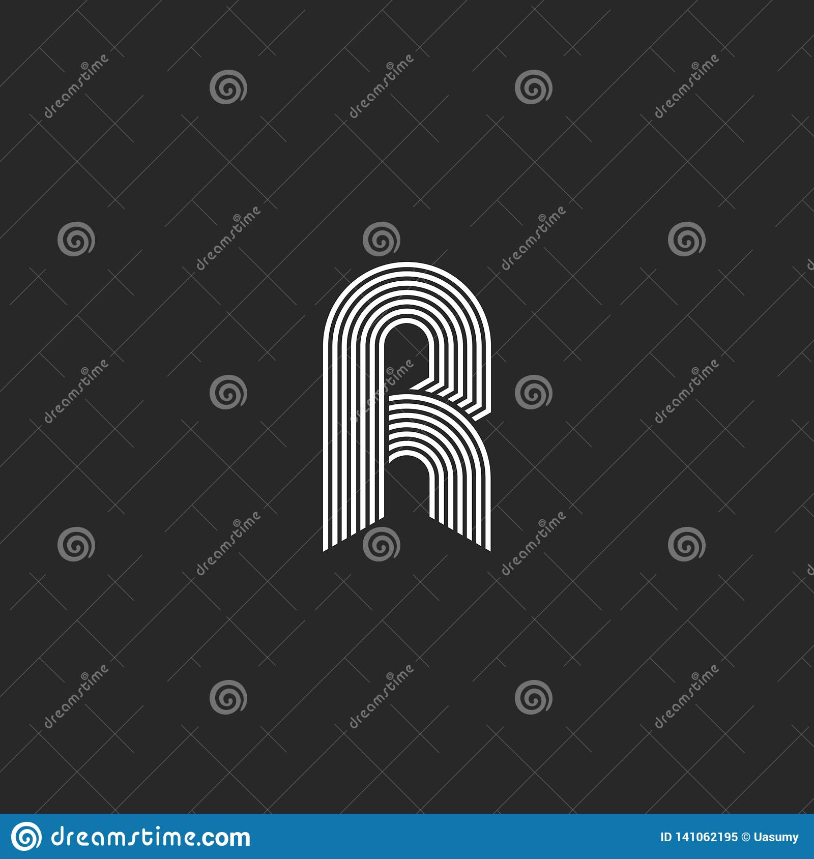 Hipster white letter r monogram linear or icon on black background. Linear vector initial symbol logo. Elegant line curve logotype
