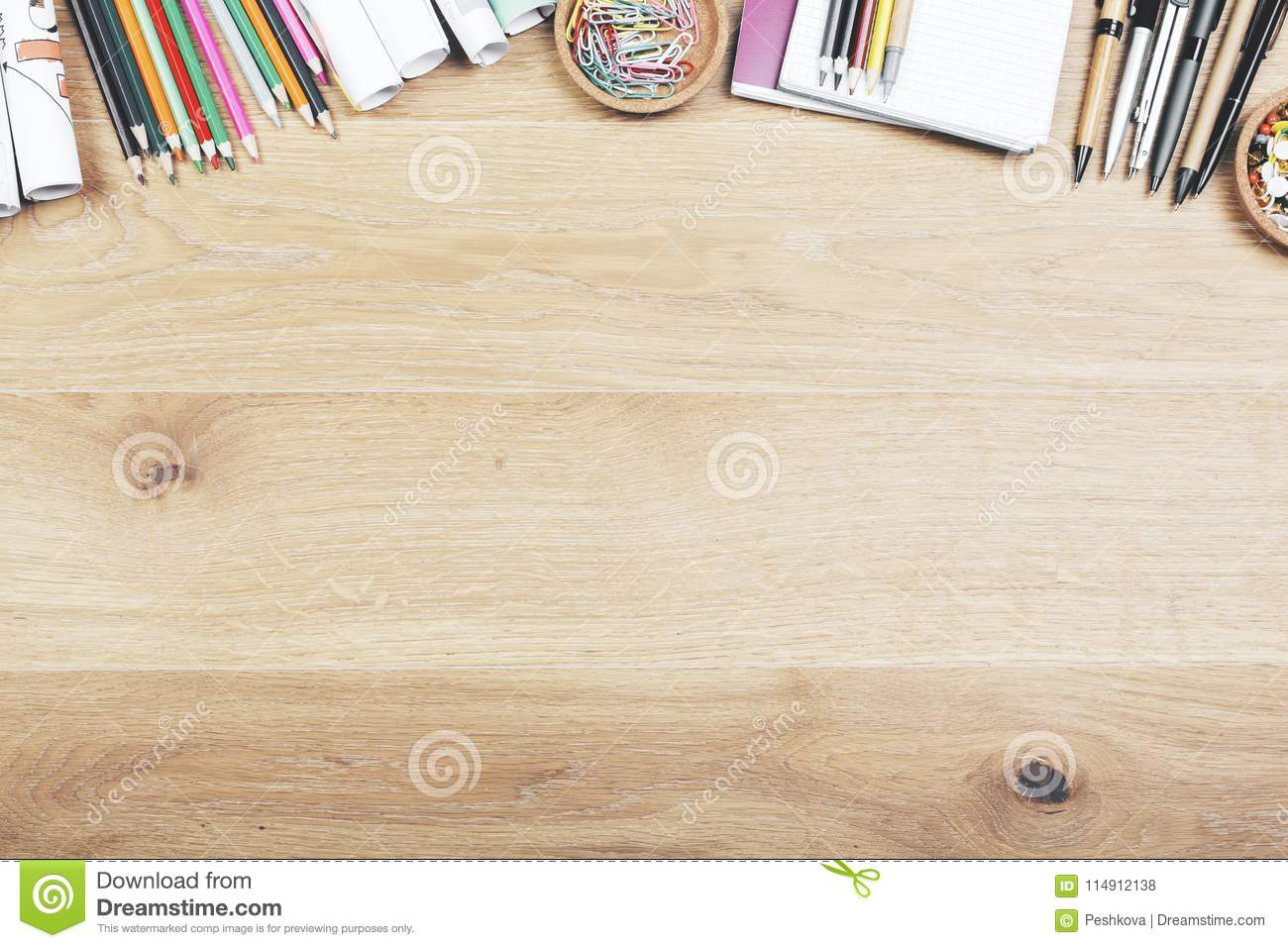 Download Hipster Office Workspace With Supplies Stock Photo   Image Of  Information, Concept: 114912138
