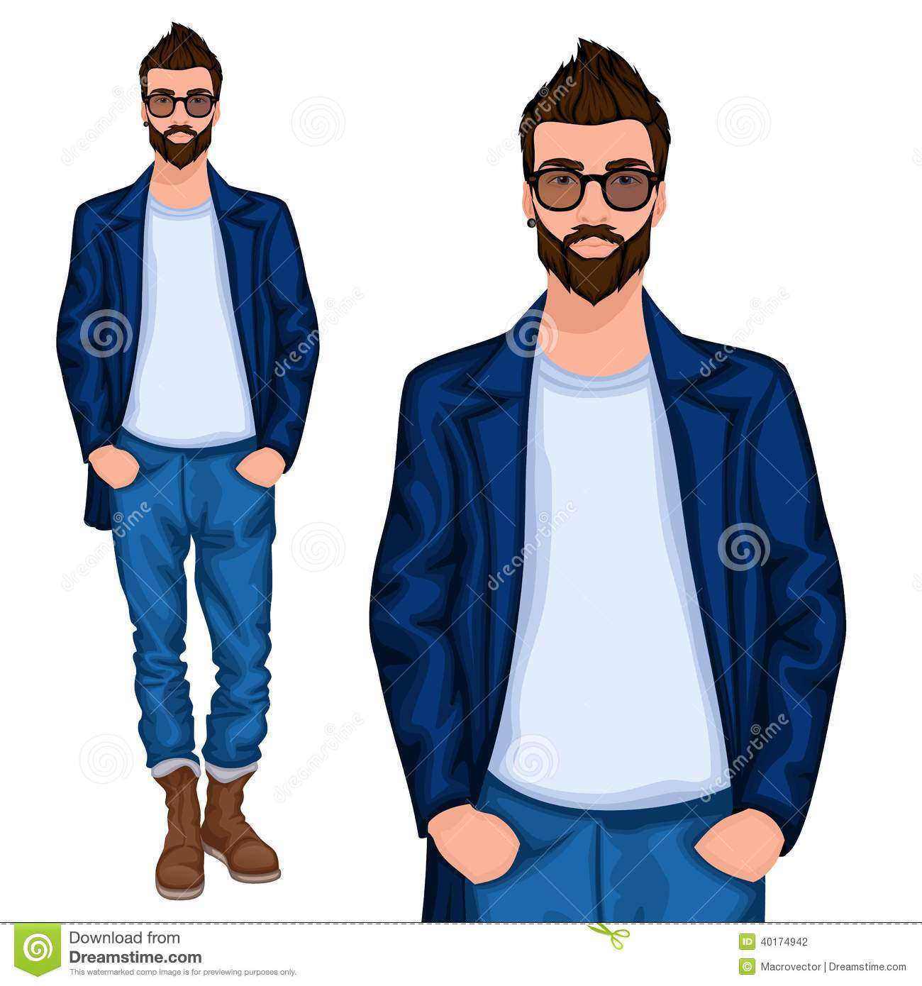 hipster young guy stock vector image 40174942