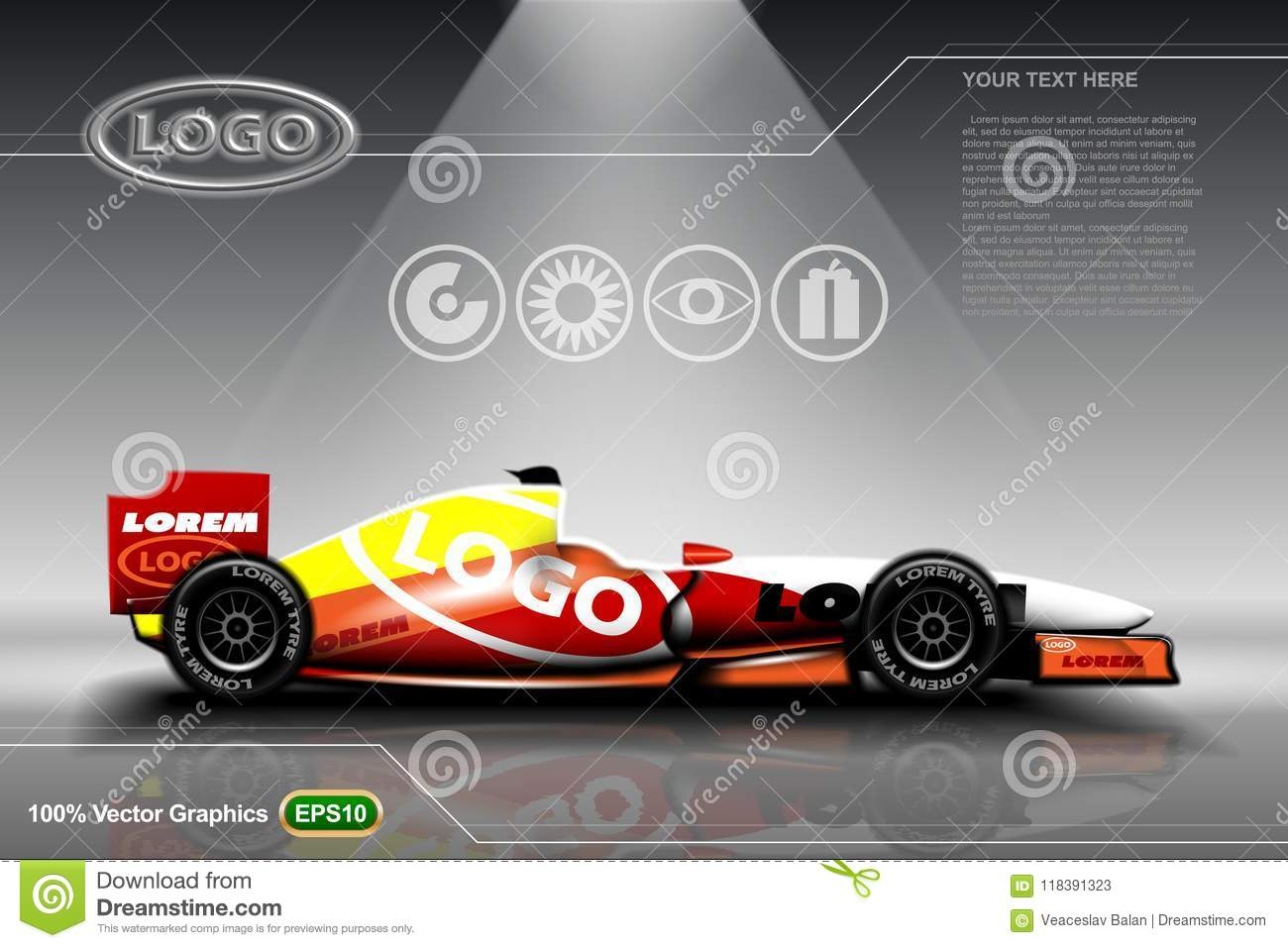 Racing car template stock vector  Illustration of