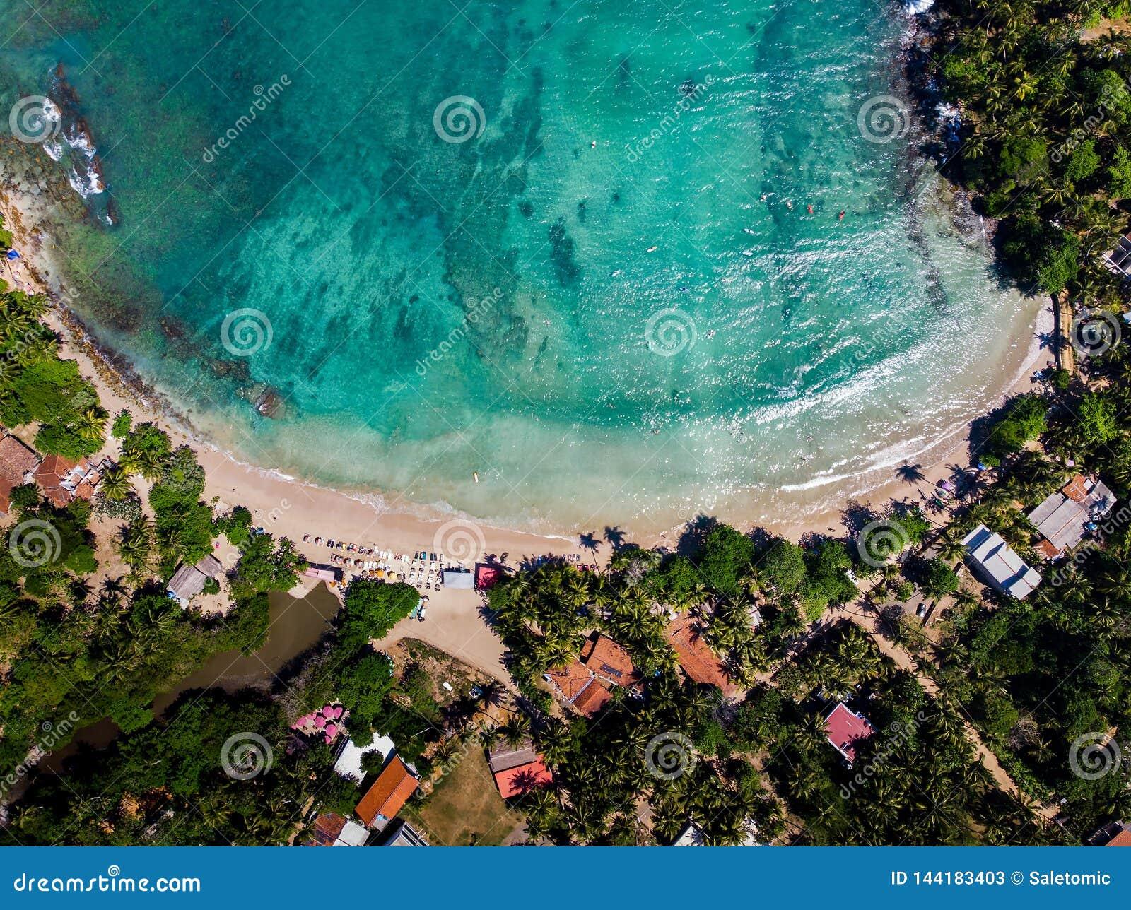 Hiriketiyastrand in Sri Lanka-satellietbeeld