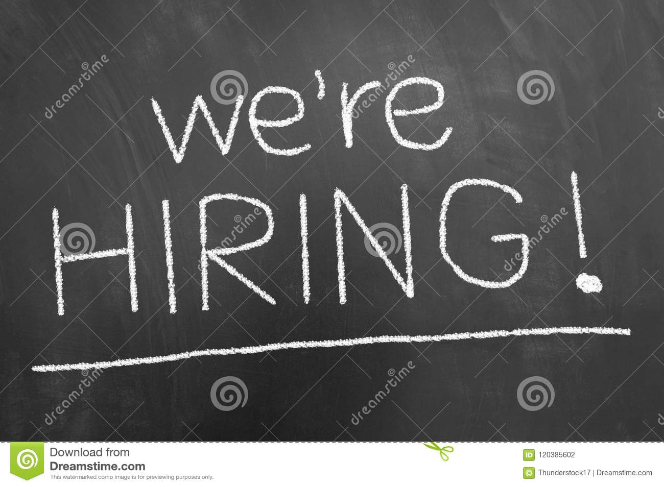 We are hiring announcement chalk text on blackboard or chalkboar