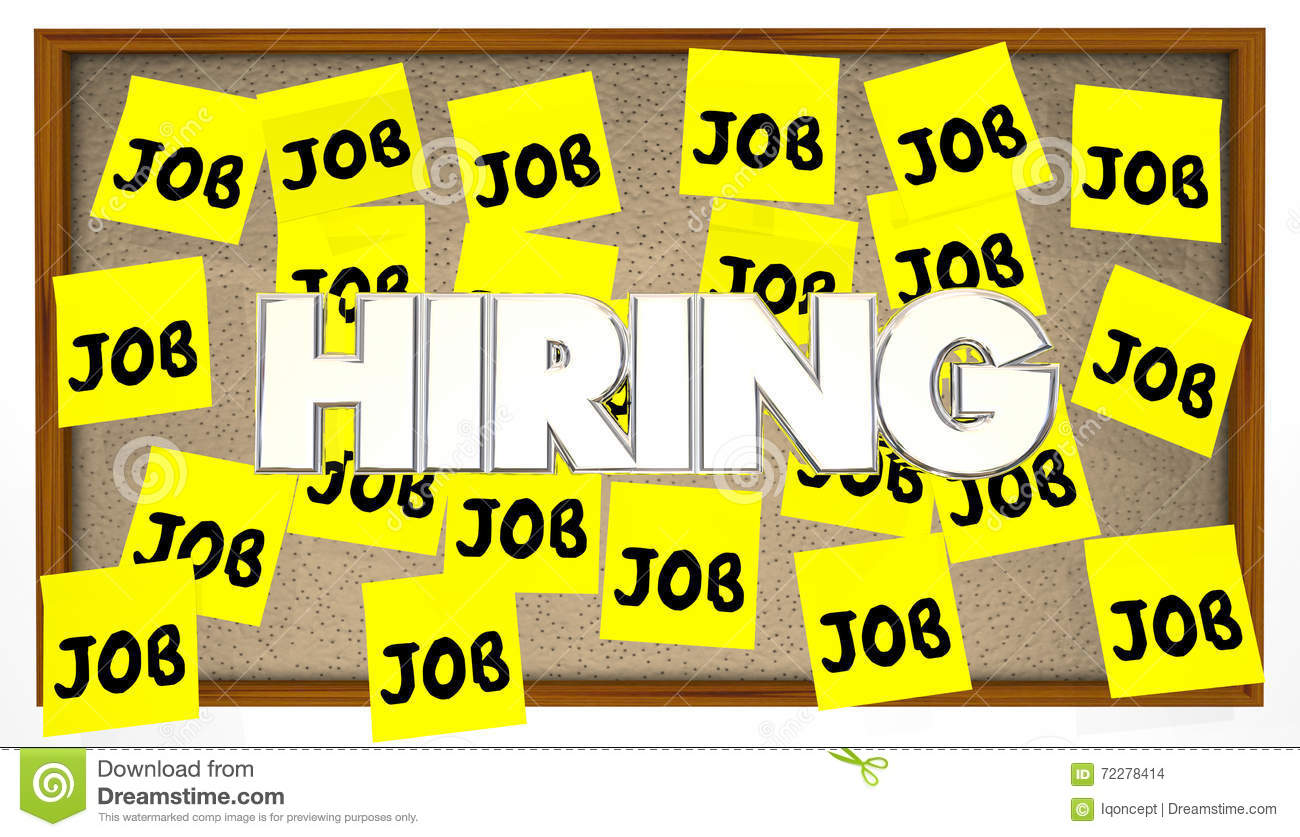 Hiring Jobs Posting Board Classified Help Wanted Find Work Stock