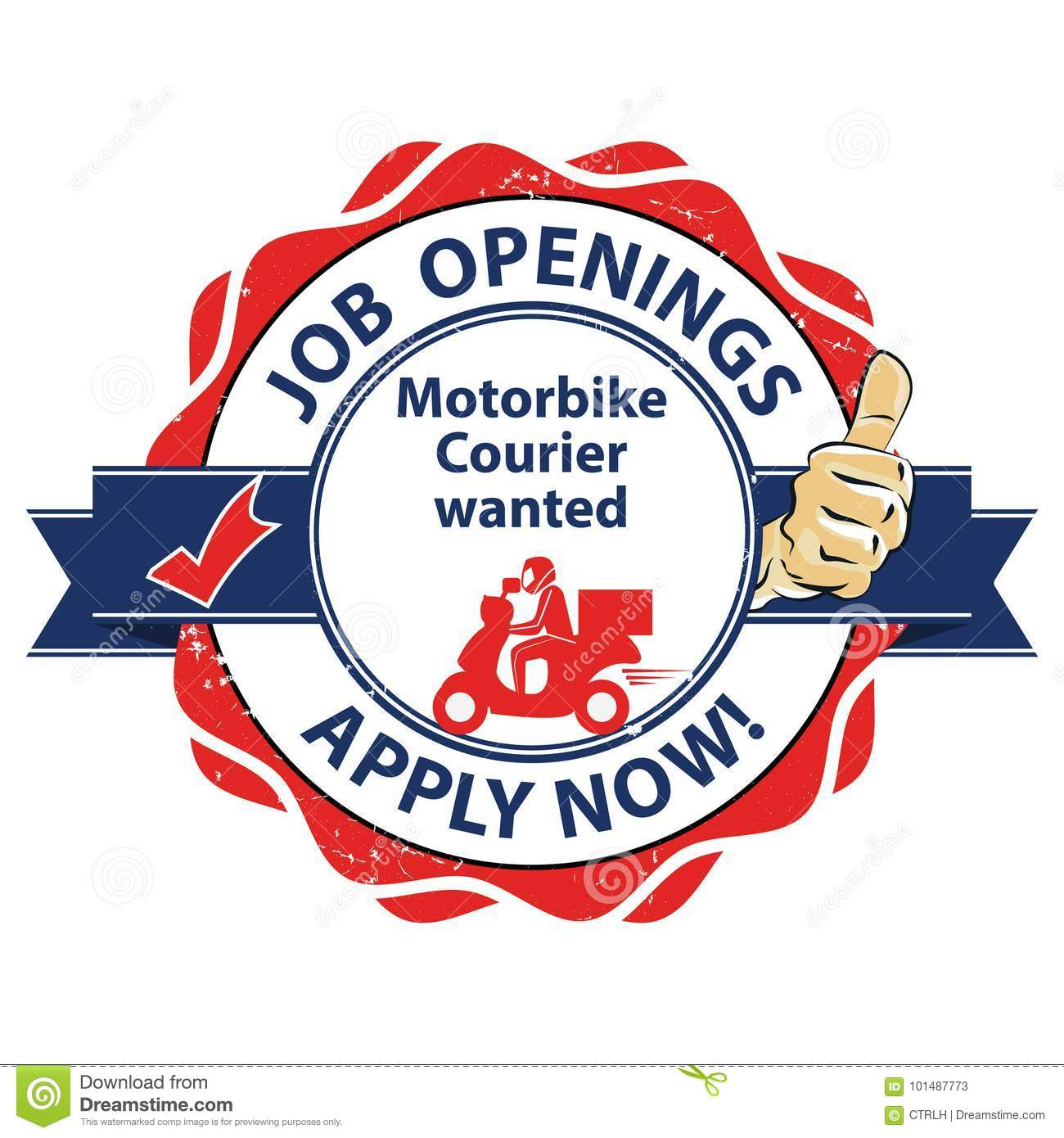 We Are Hiring Motorbike Courier - Job Openings Stock Vector