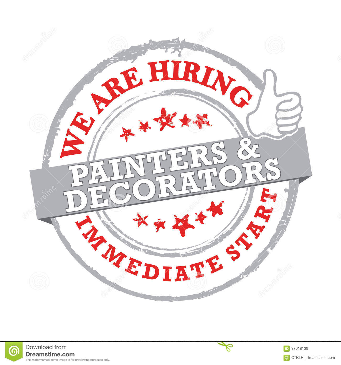 Painter Decorator Sign Stock Vector: We Are Hiring Painters And Decorators