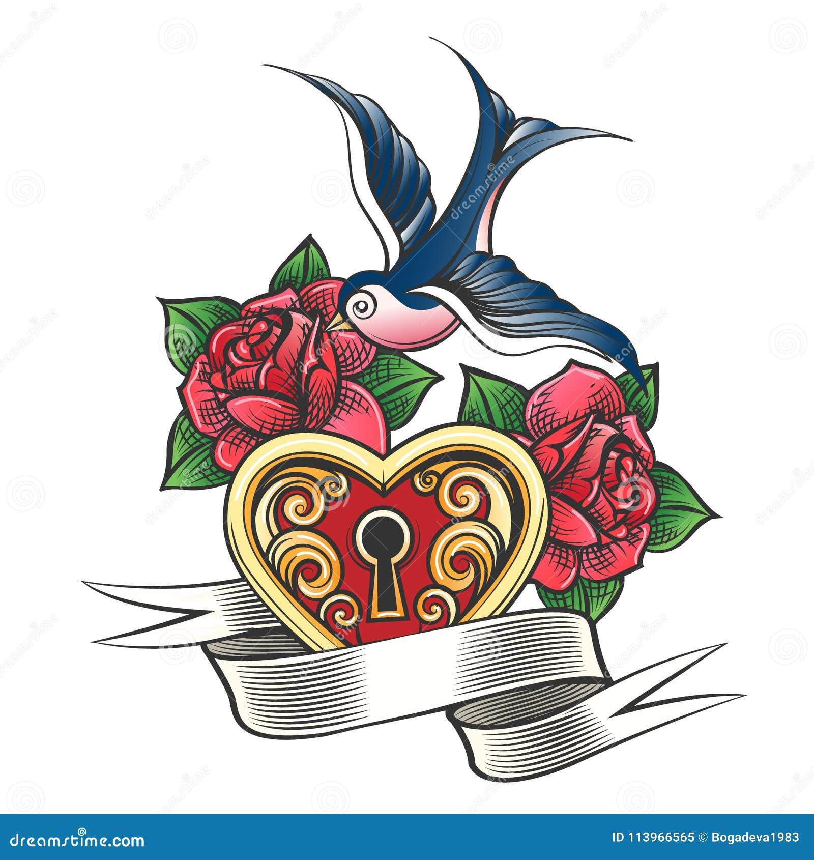 Hirondelle avec le tatouage de Rose et de coeur
