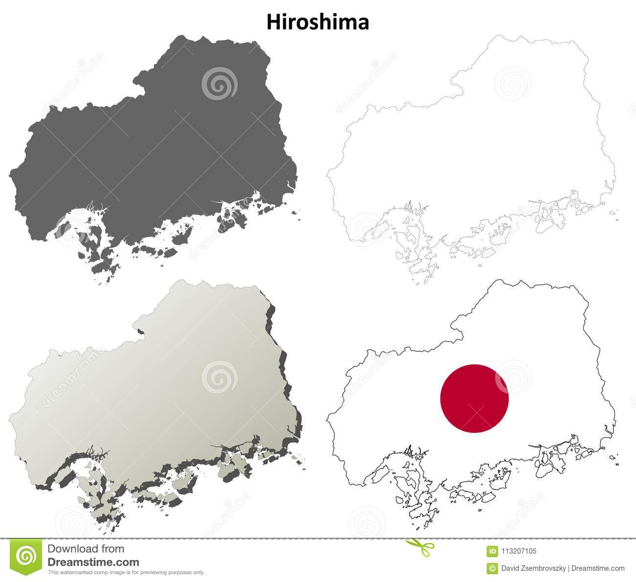 Hiroshima Blank Outline Map Set Stock Vector - Illustration of japan ...