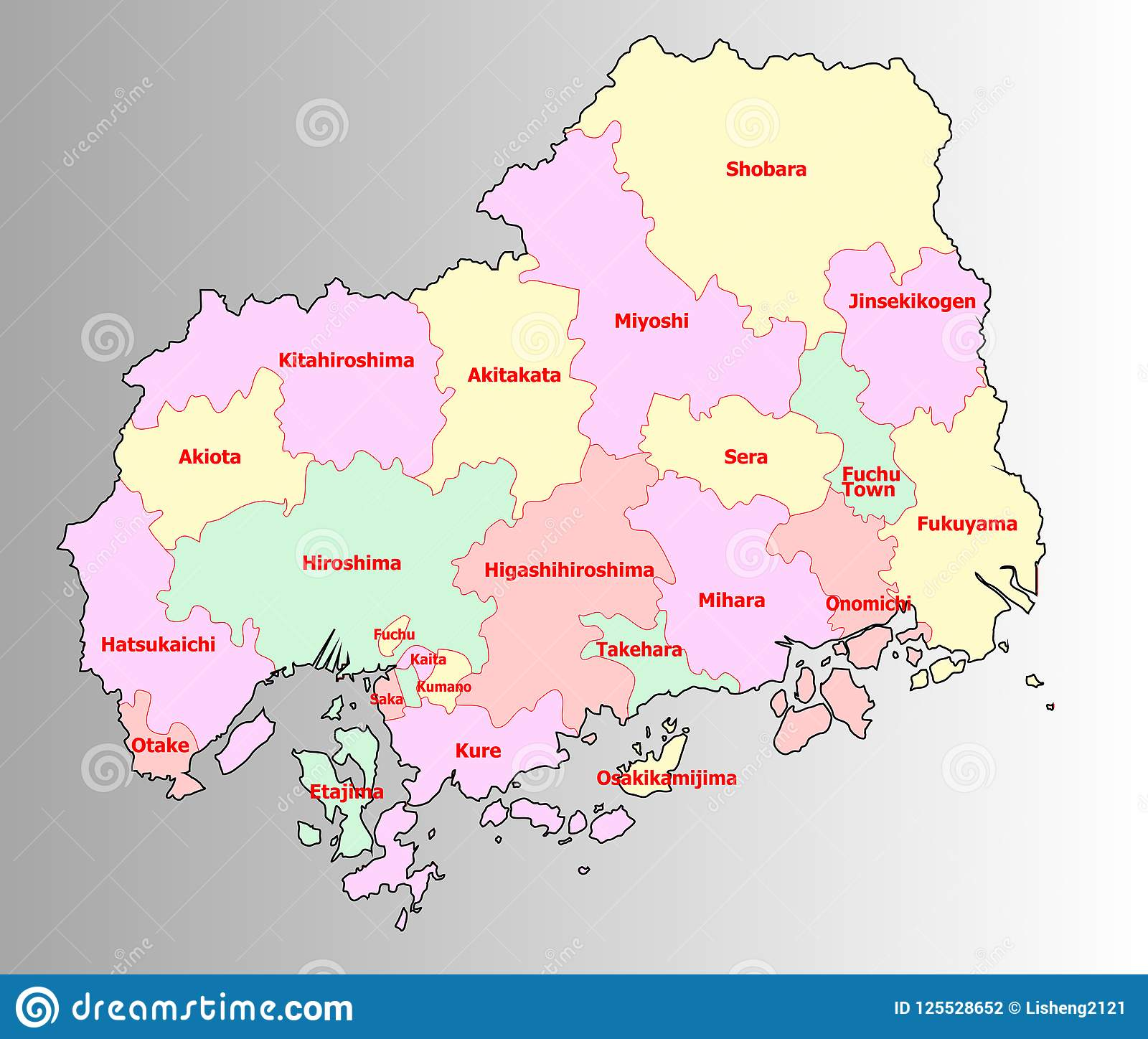 Hiroshima, Japan Map With Administrative Districts Territory ...