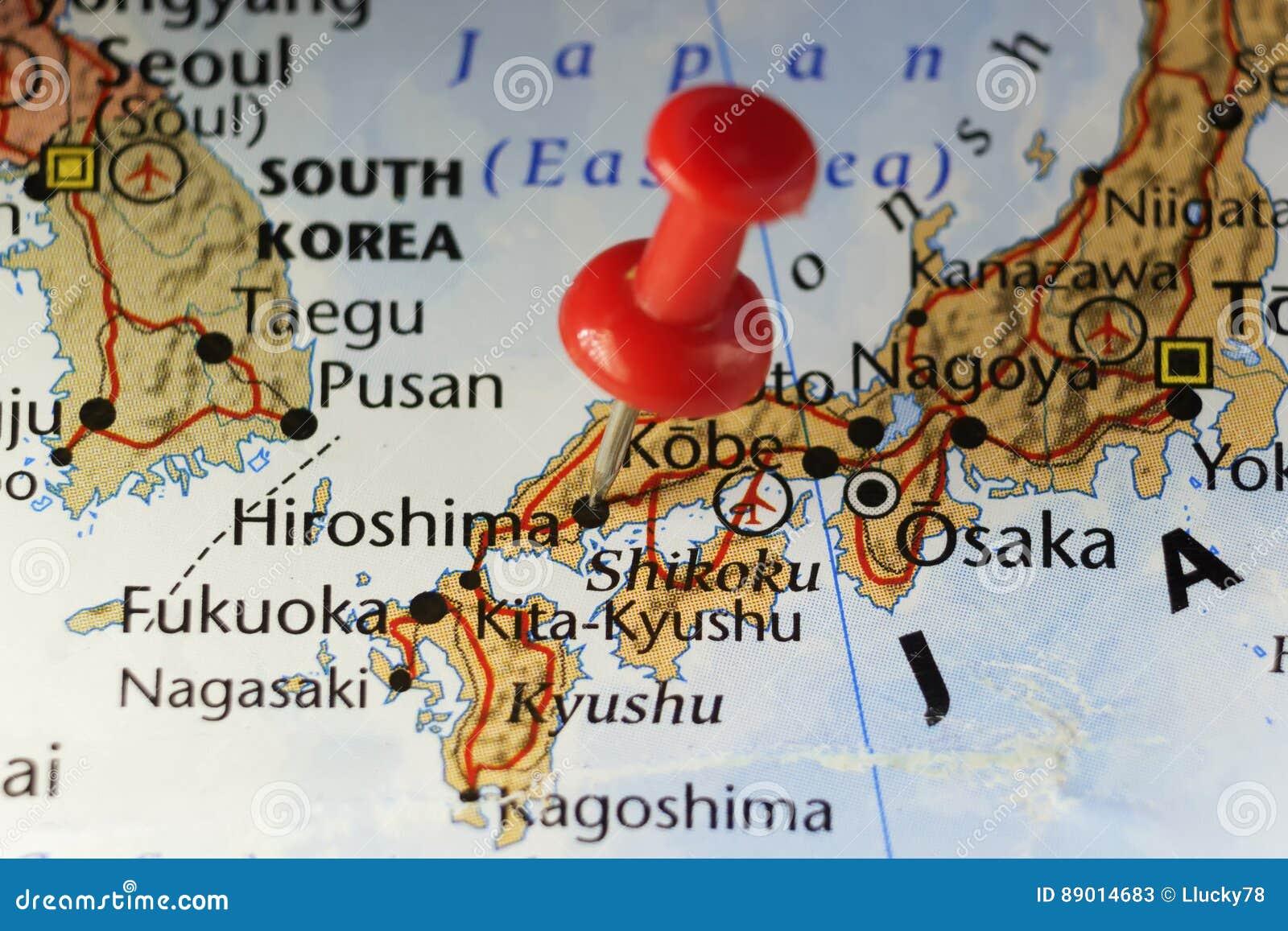 Hiroshima, Japan pinned map