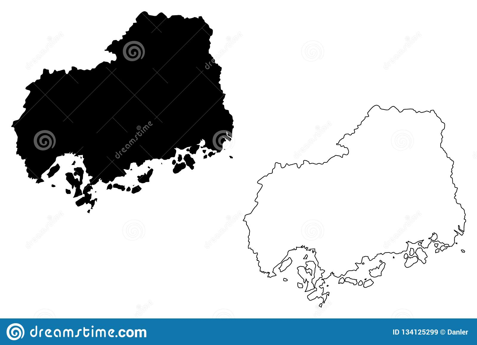 Hiroshima Prefecture Map Vector Stock Vector - Illustration of ...