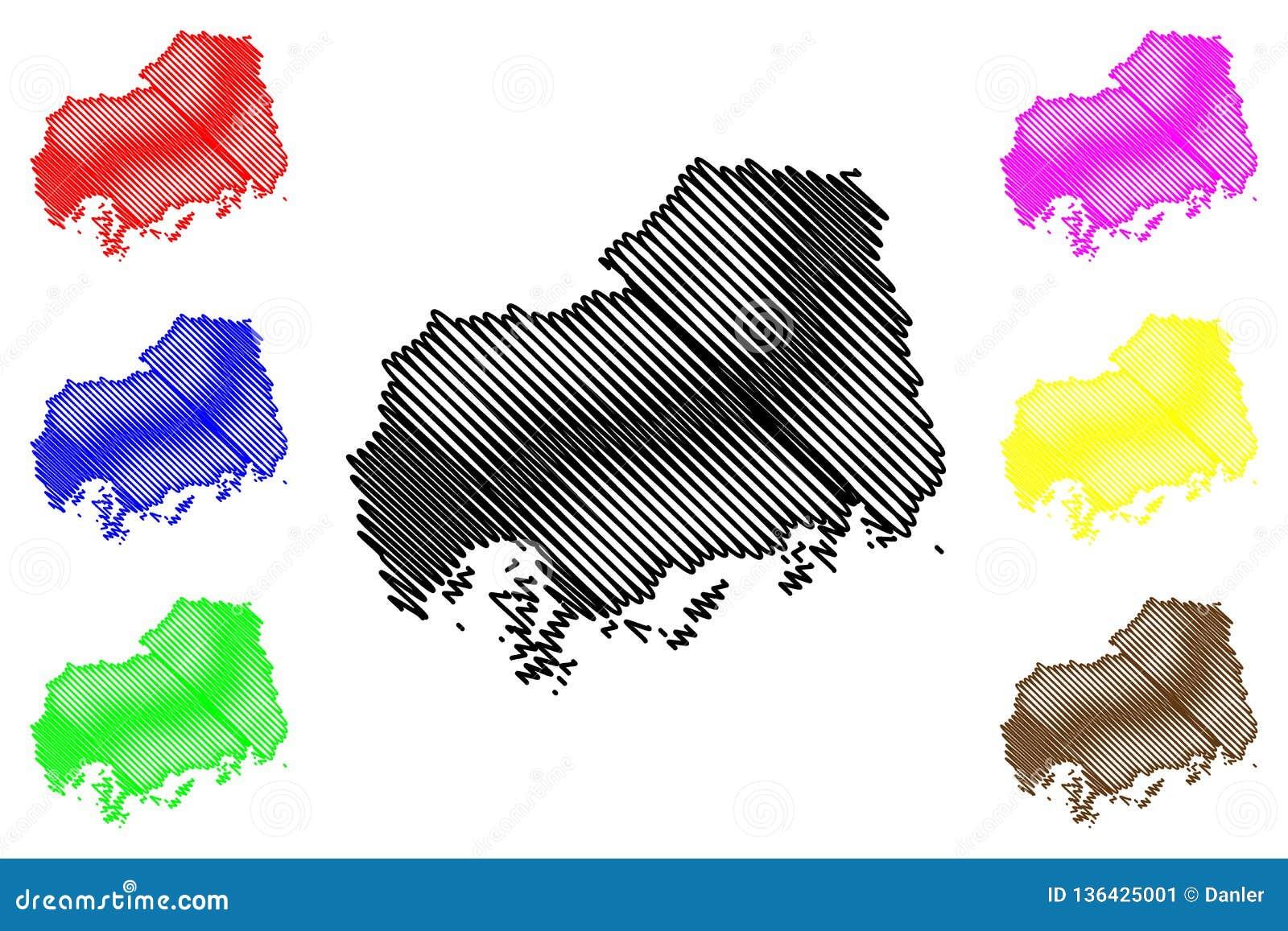 Hiroshima Prefecture Map Vector Stock Vector - Illustration of japan ...