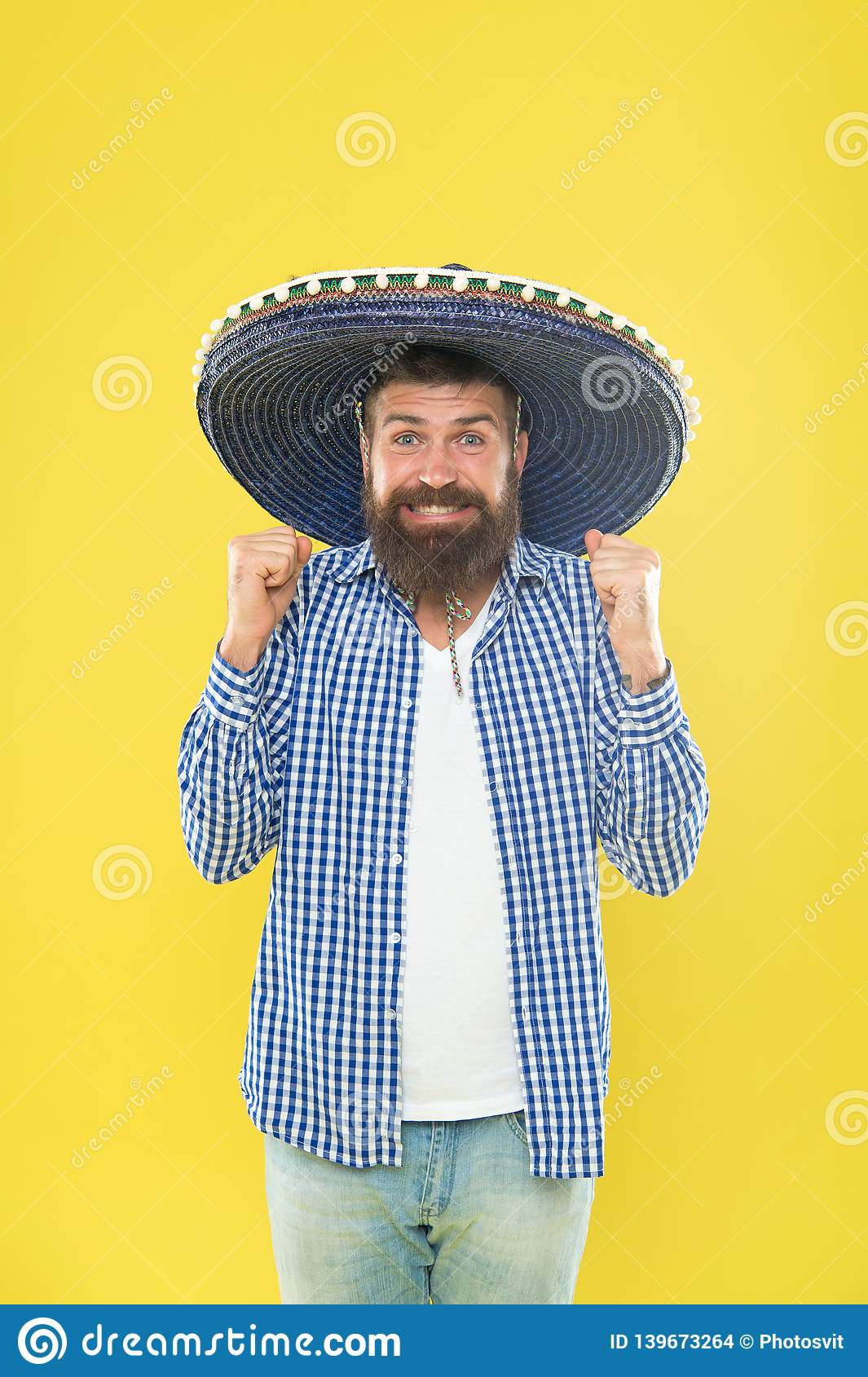 cd63210ec4c His giant sombrero is perfect. Traditional fashion accessory for costume  party. Mexican man wearing sombrero. Bearded man in mexican hat.