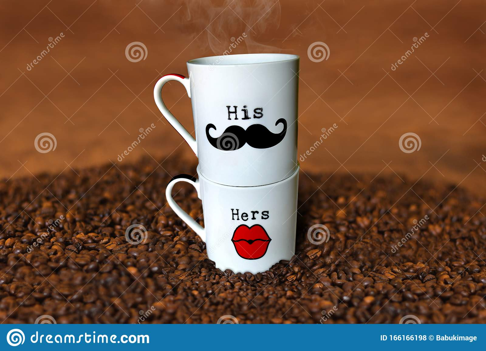 His And Hers Personalized Tea Cups On Coffee Seed Background Mugs Weeding Gift Ideas Stock Photo Image Of Beautiful Couple 166166198