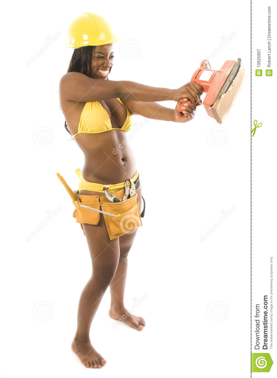 Hispanic African American Woman Contractor Bikini Stock
