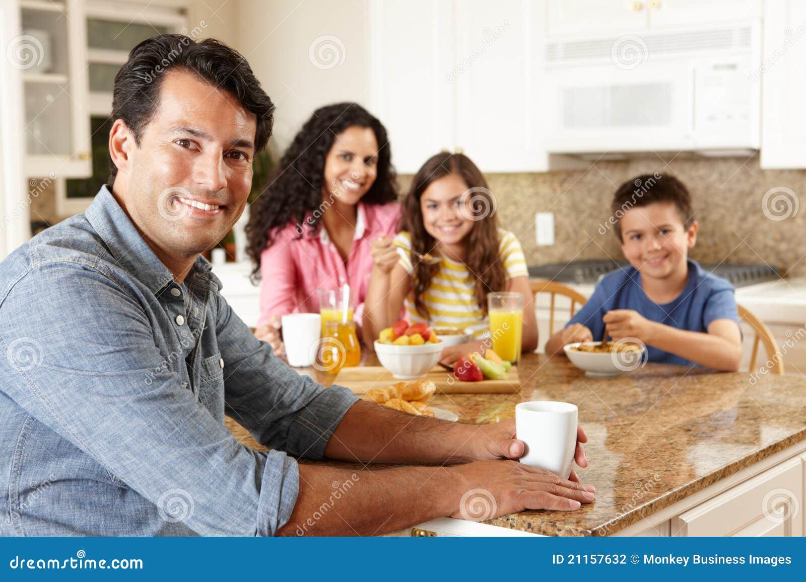 Hispanic Family Eating Breakfast Stock Photography Image
