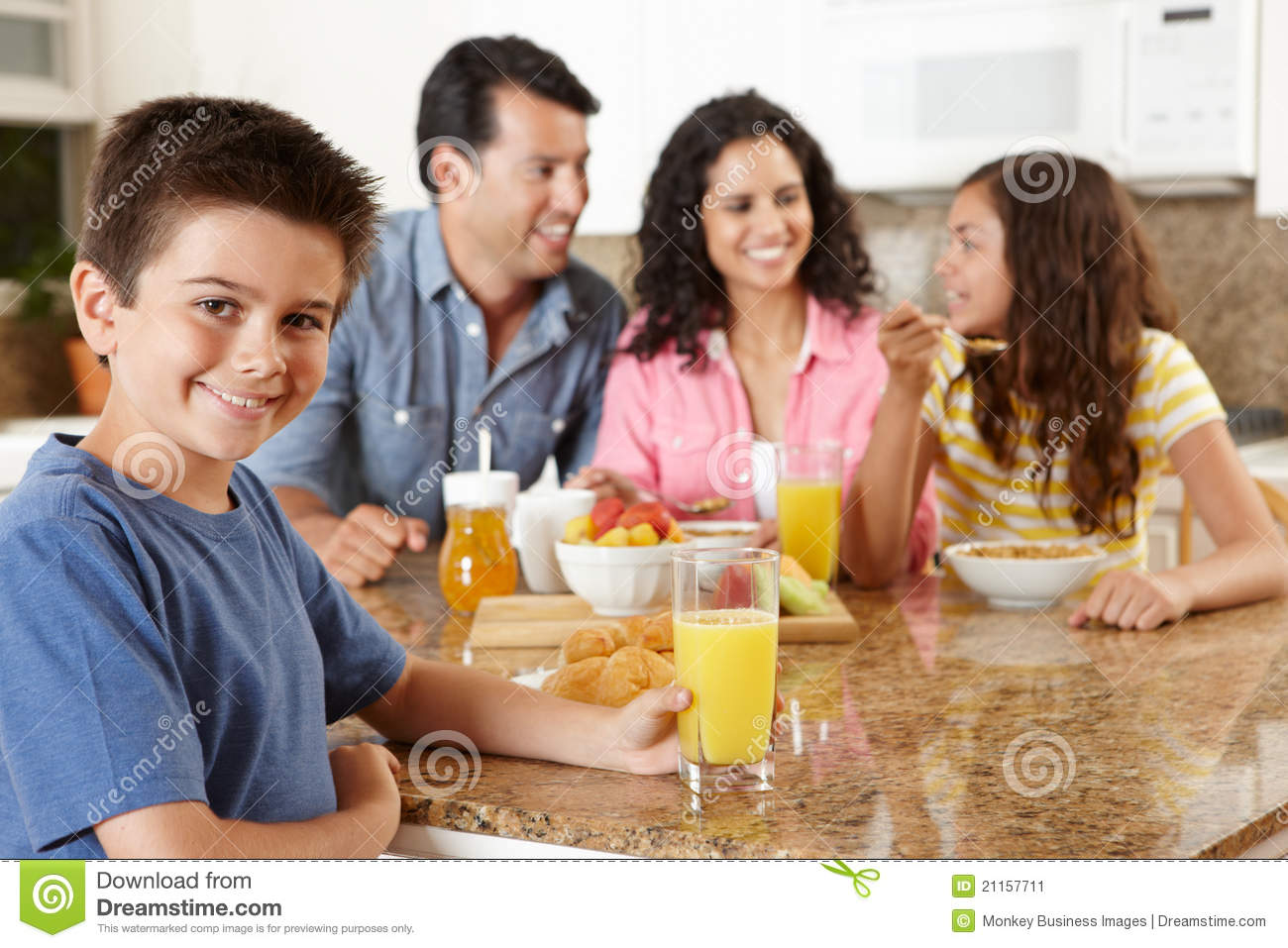 Hispanic Family Eating Breakfast Stock Image - Image of ...