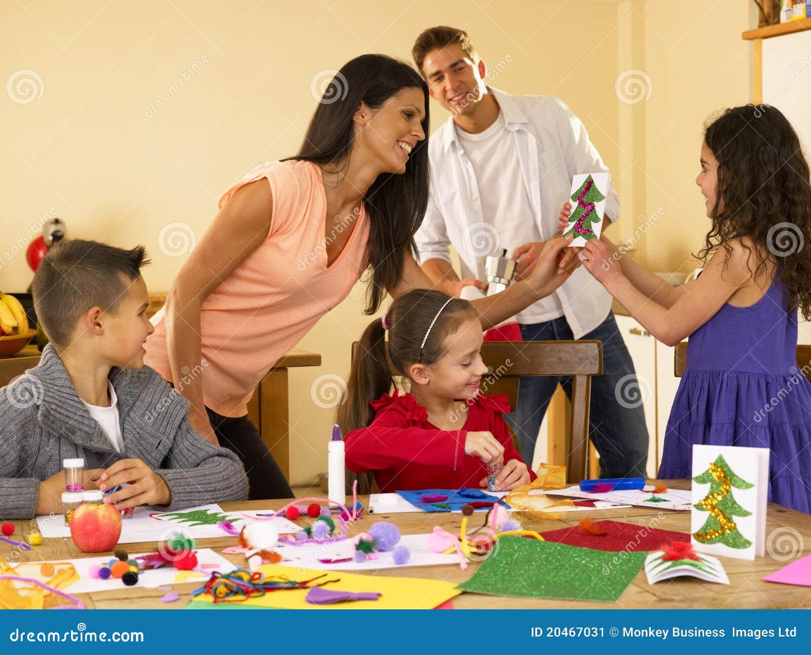 Hispanic Family Making Christmas Cards Stock Image Image
