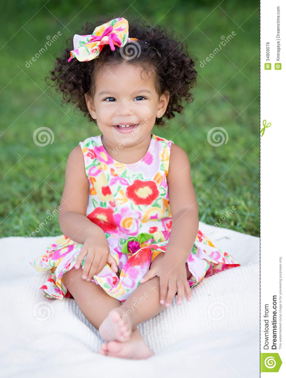 Hispanic Girl With An Afro Hairstyle Stock Photo Image