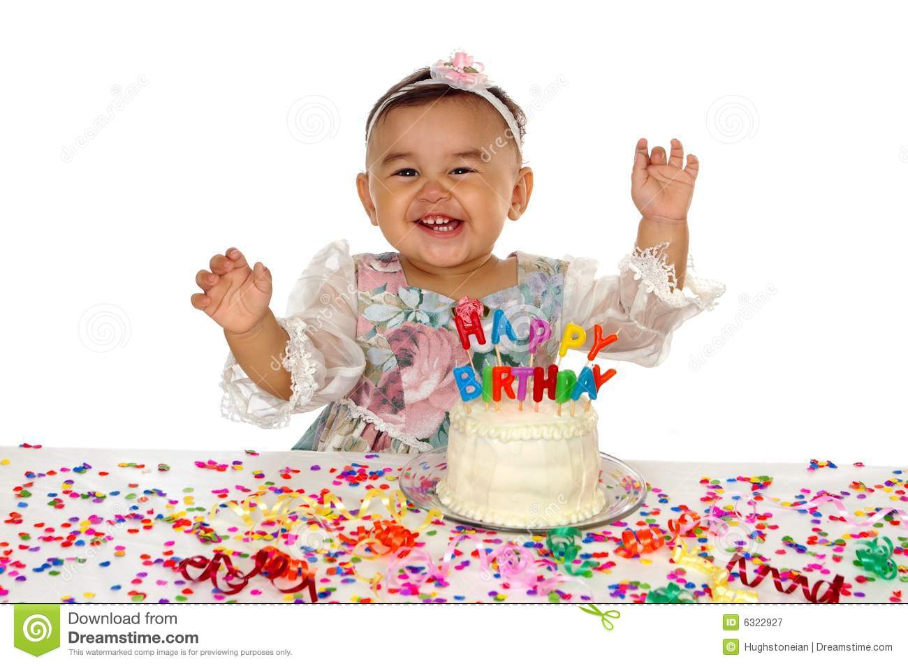Hispanic Girl And Birthday Cake 1 Year Old