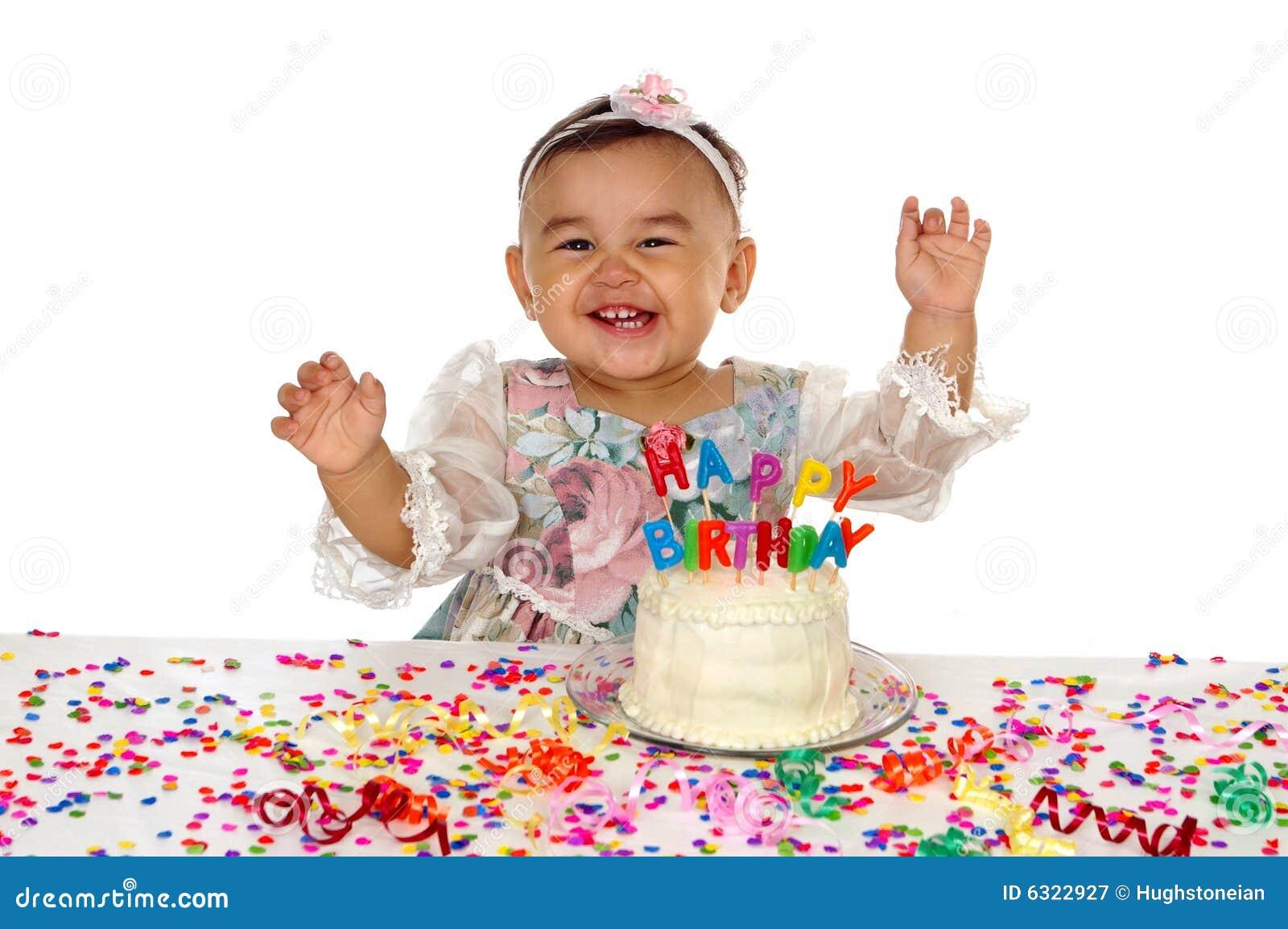 Hispanic Girl And Birthday Cake 1 Year Old Royalty Free ...