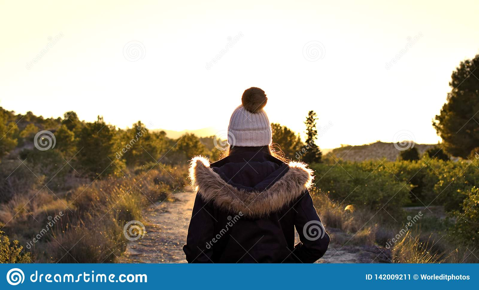 Beautiful caucasian girl outdoors in nature at day time