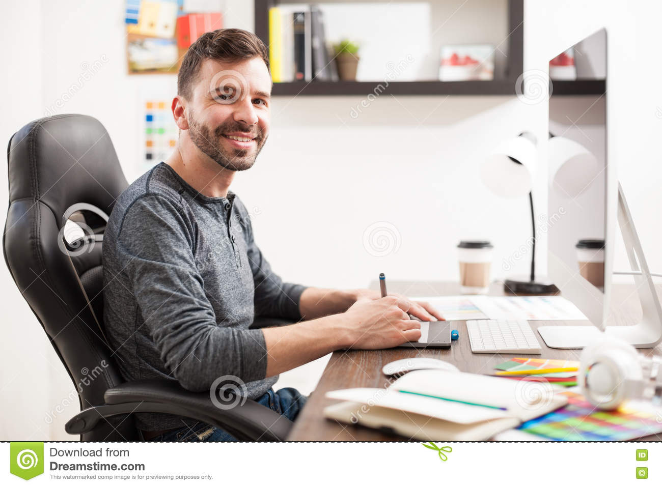 Hispanic Graphic Designer At Work Stock Photo - Image of illustrator ...