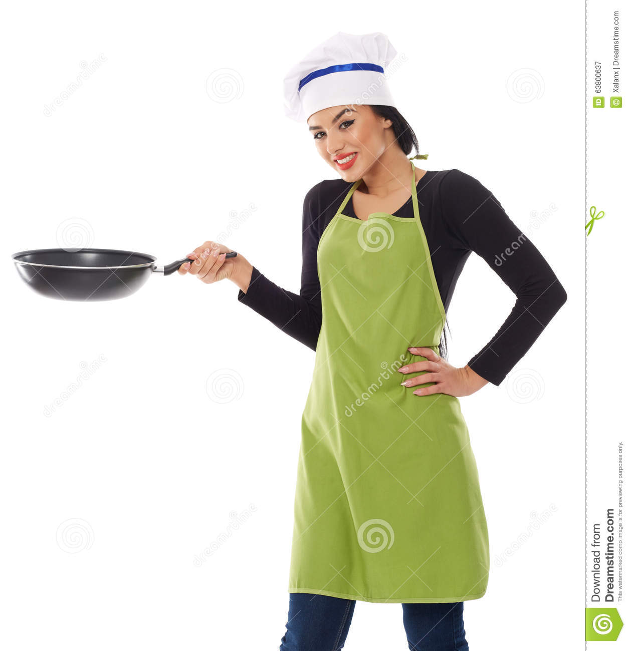 Hispanic Lady Cook With Frying Pan Stock Image - Image of kitchen ...