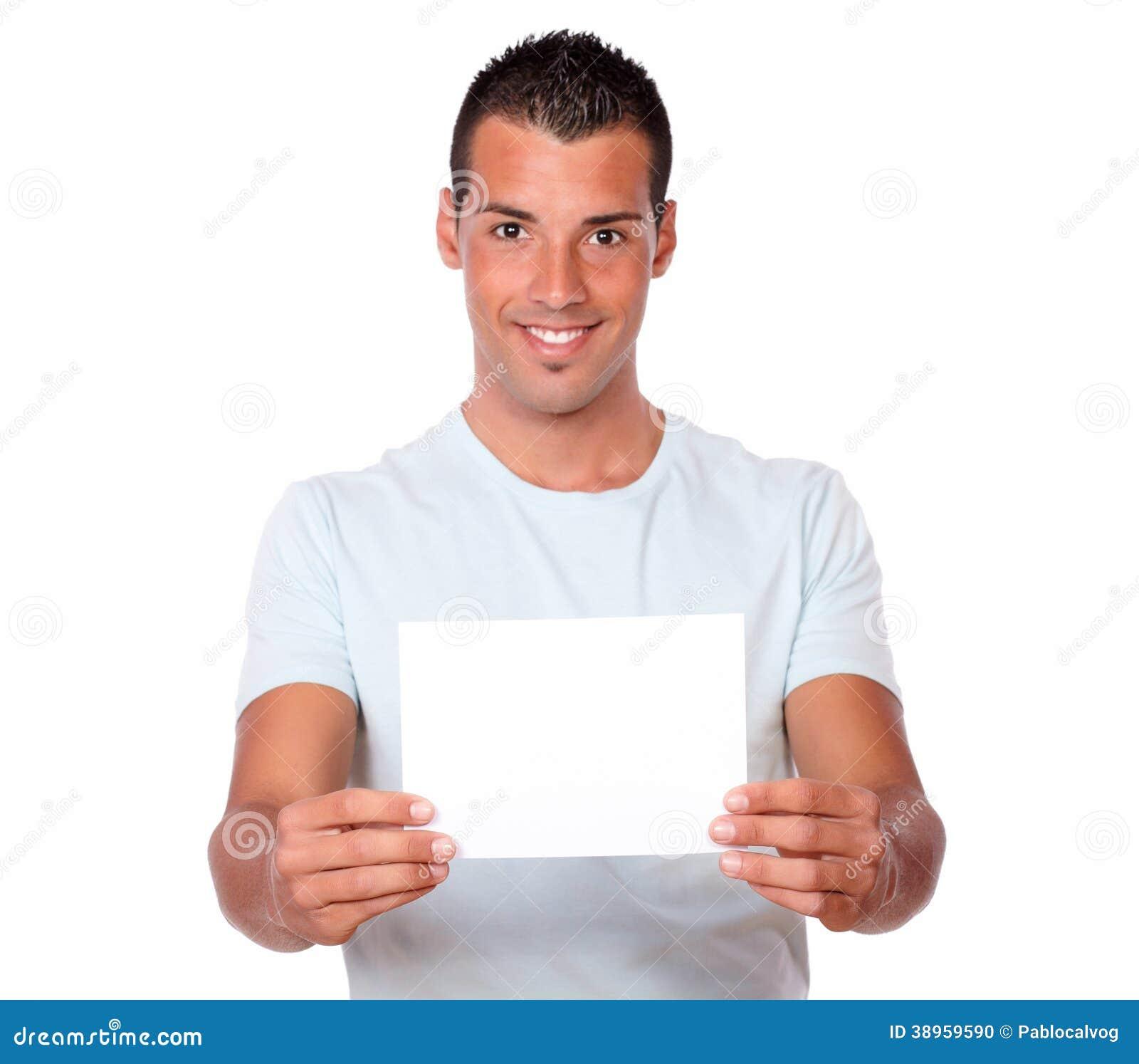 Hispanic Man Holding Up A Blank Card Stock Photo