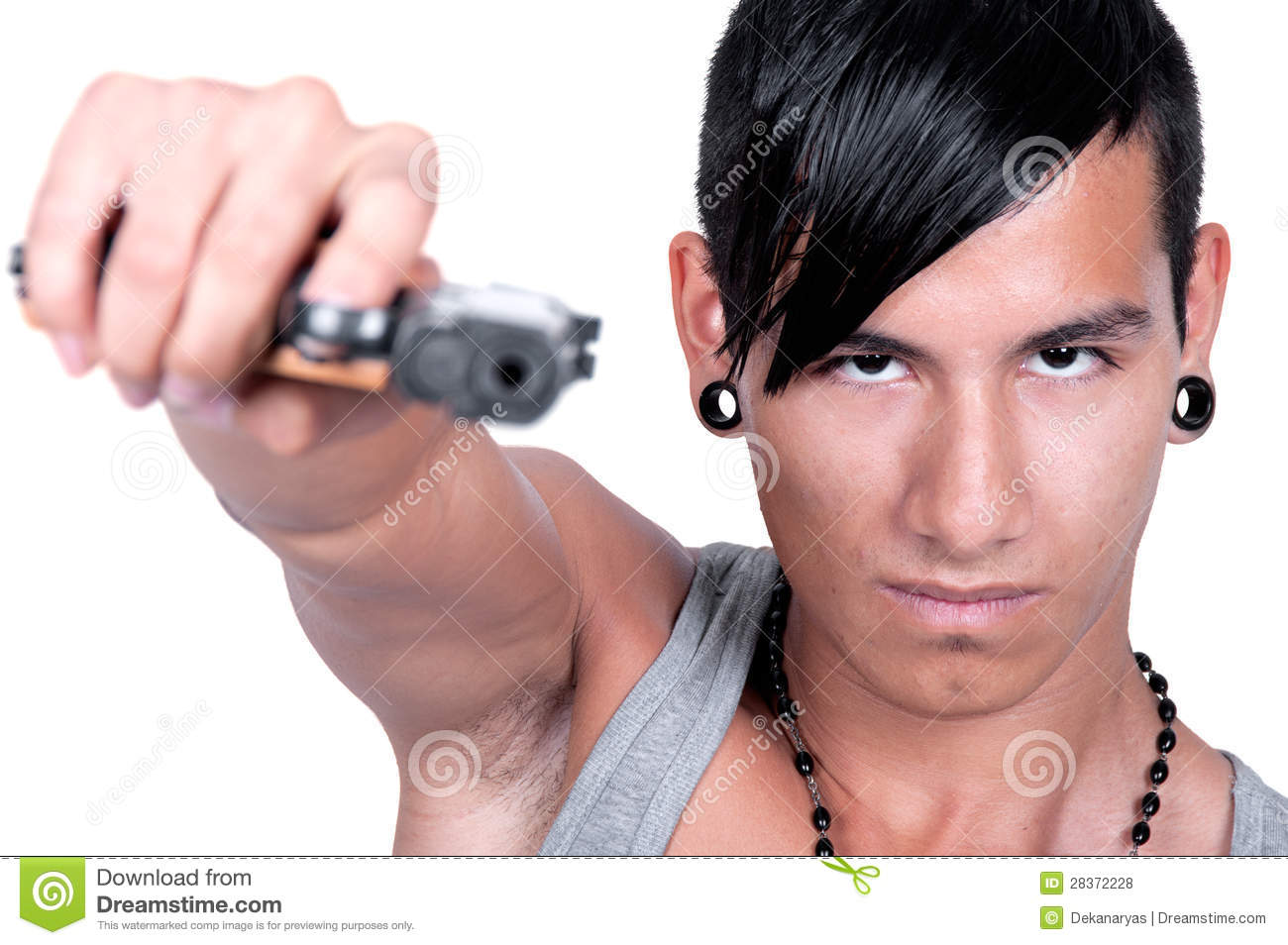 Hispanic Man Pointing Gun At Camera Stock Image of criminal