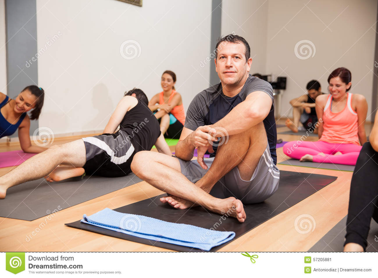 Hispanic Man In Yoga Class Stock Image Of Exercise